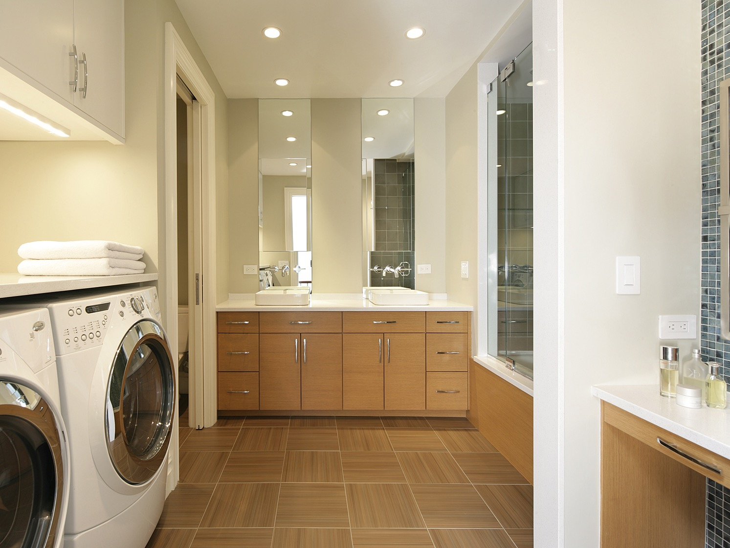 Modern Bathroom With Attached Laundry (Image 14 of 26)