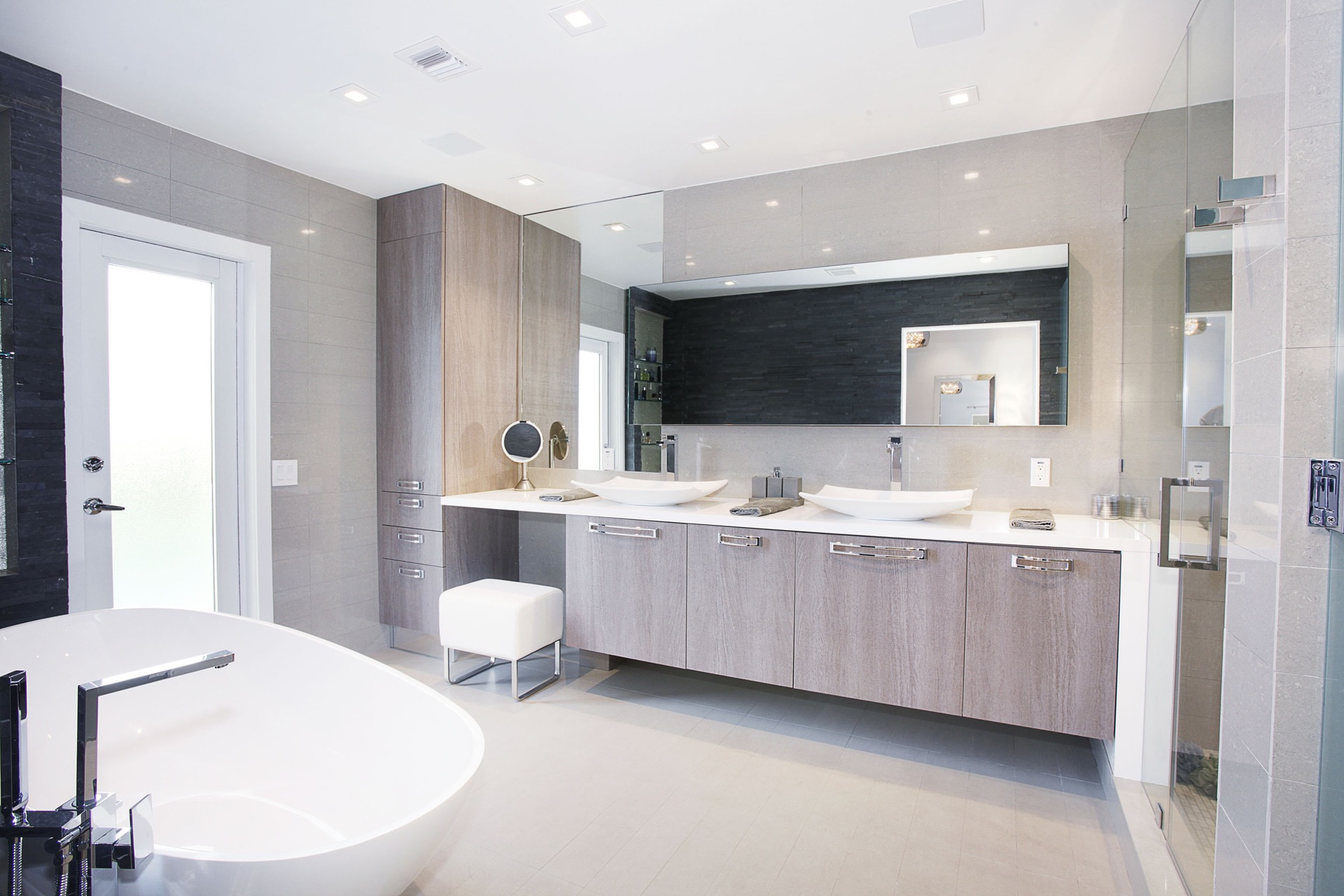 Modern Double Sink Bathroom Furniture With Whitewashed Cabinets (Image 14 of 18)