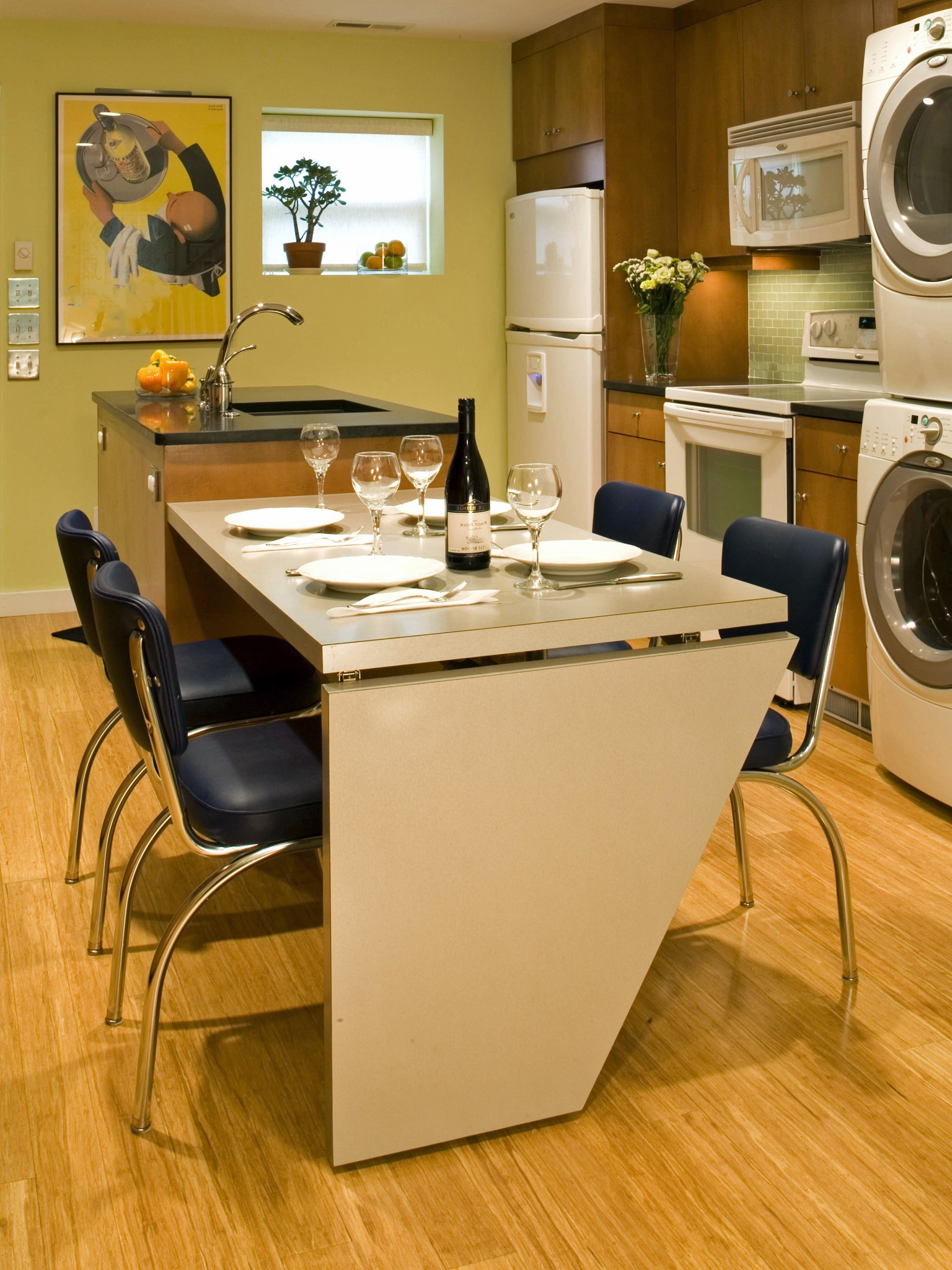 Modern Laundry Room And Kitchen Combo With Modern Dining Table And Chairs (Image 5 of 7)