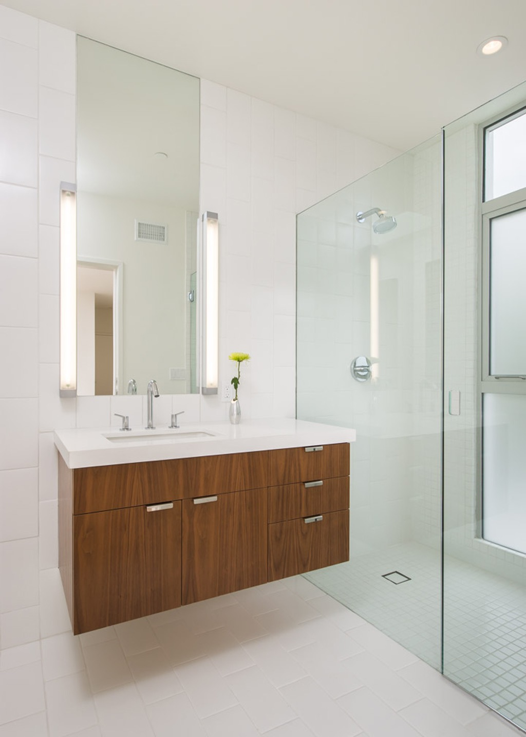 Modern Lighting For Bathroom Floating Vanity With Rectangular Mirror (Image 15 of 19)