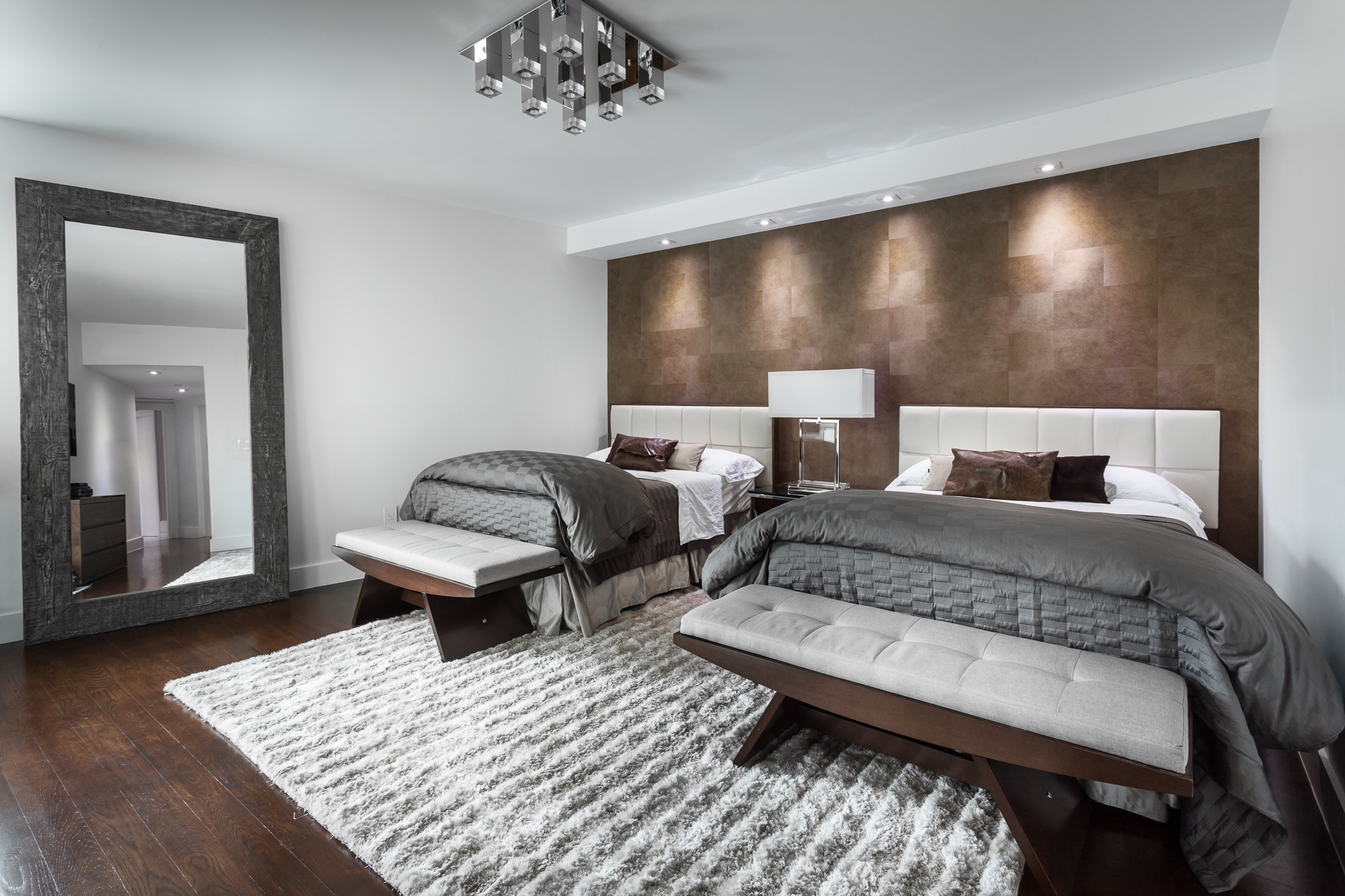 Modern Luxury Bedroom With Twin King Bed (Image 16 of 23)