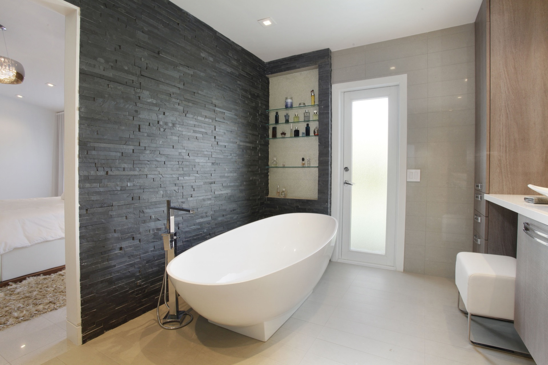 Modern Minimalist Bathroom In Black White Theme With Slate Tile Accent Wall (Image 11 of 14)