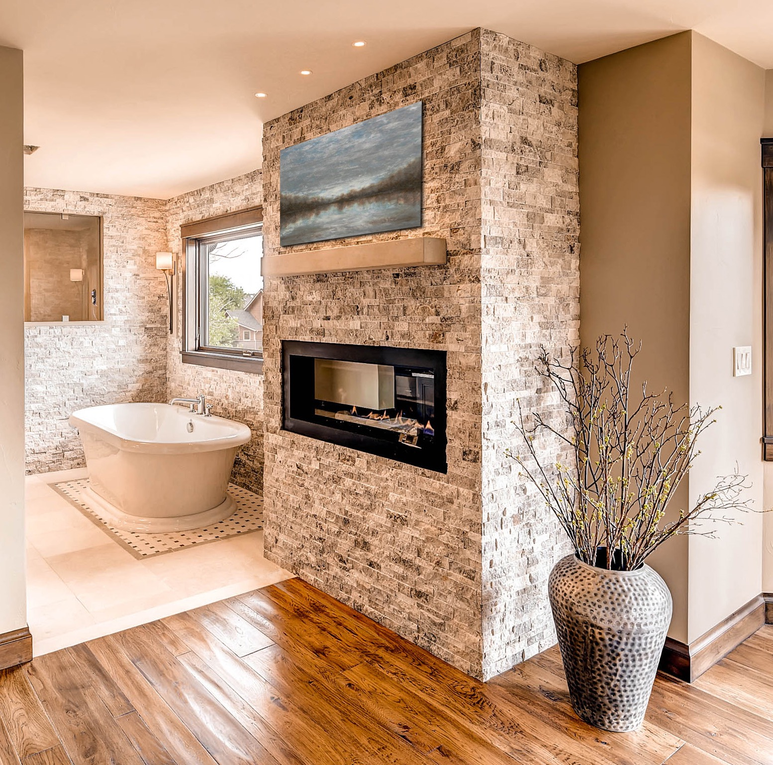 Modern Rustic Bathroom With Stone Wall Decoration (Image 12 of 18)