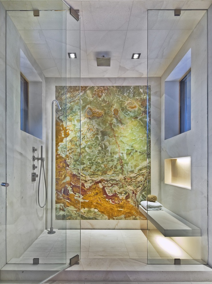 Modern Shower Bathroom With Floating Bench And Illuminated Shower Niche (Image 15 of 22)
