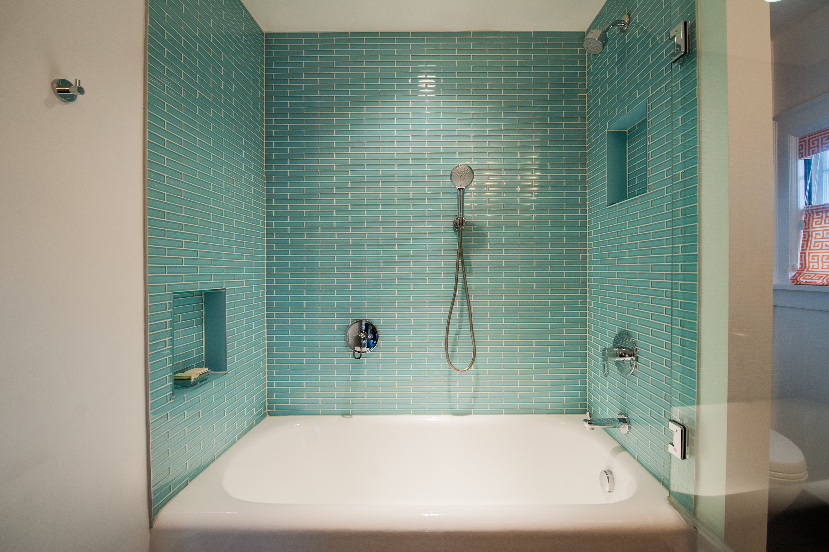Modern Shower And Bathtub Combo With Blue Tile Backsplash (View 18 of 19)