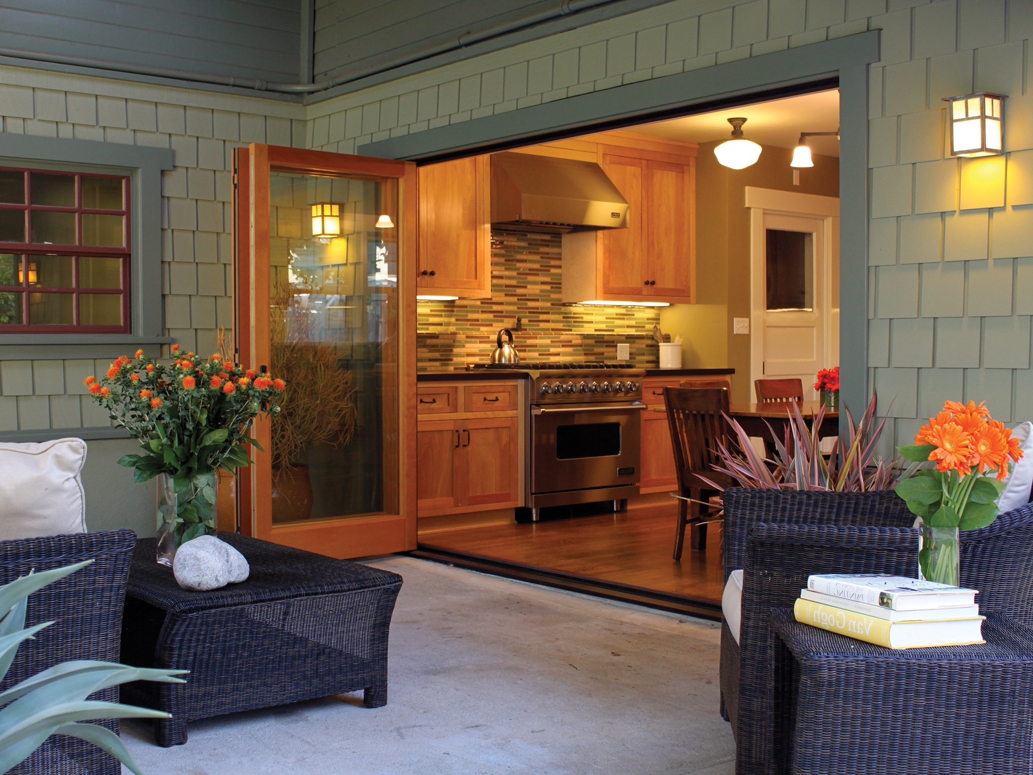Modern Wooden Frame Bifold Glass Doors For Kitchen And Patio (Image 19 of 24)