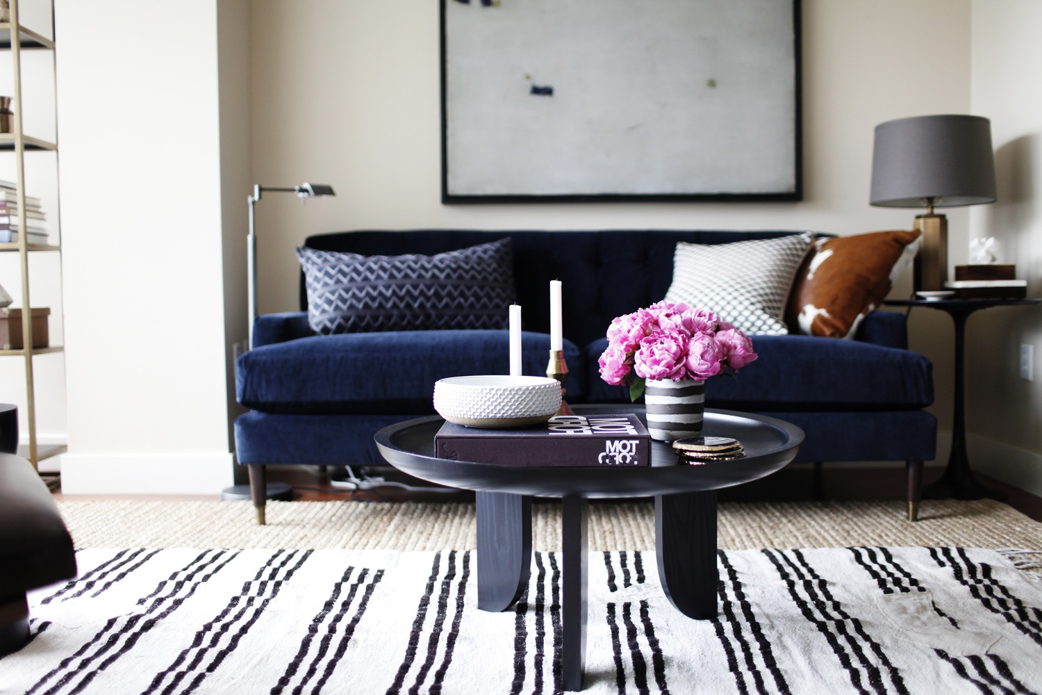 Navy Blue Sofa And Striped Rug For Modern Living Room (Image 20 of 25)