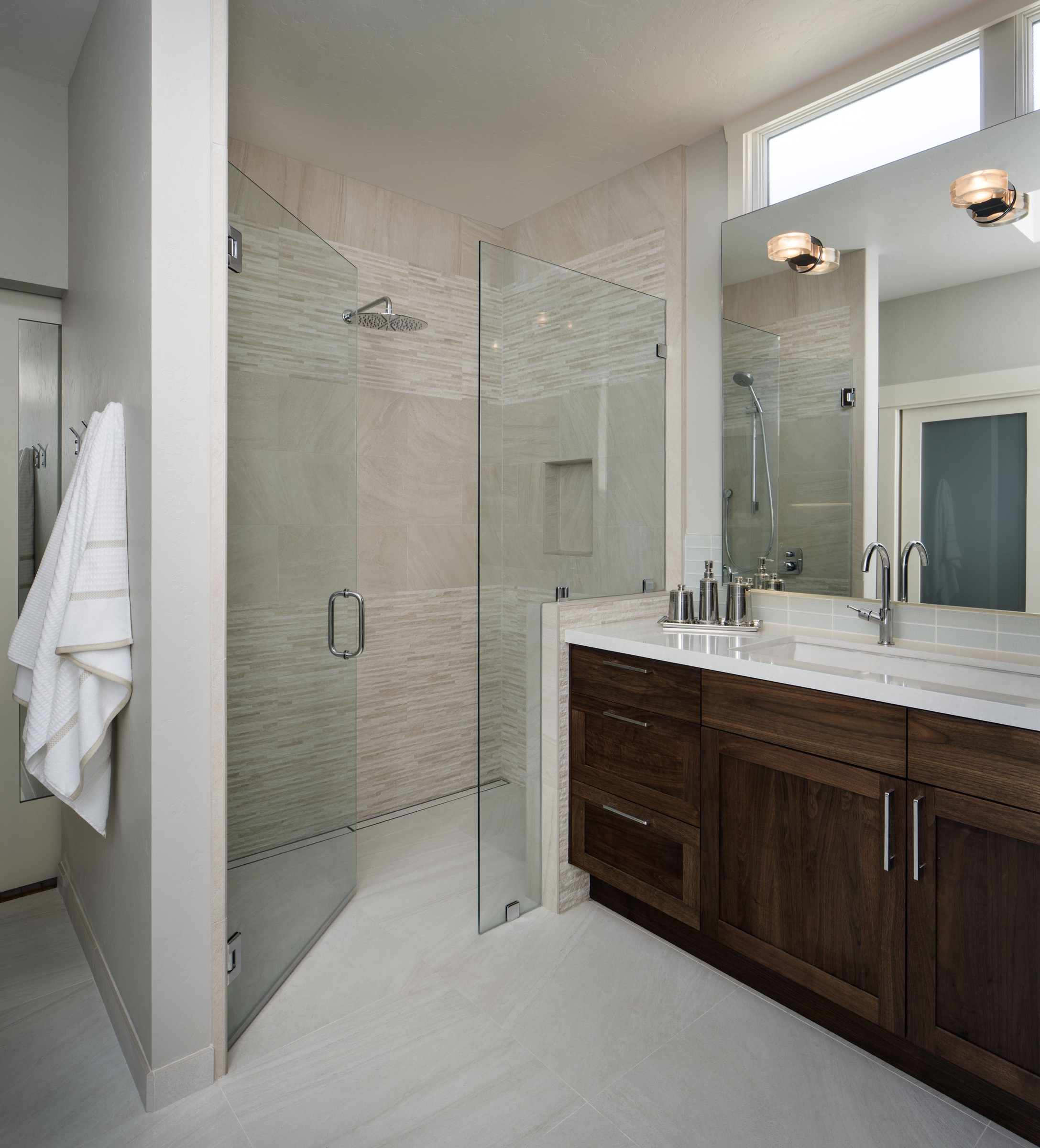 Neutral Bathroom With Glass Walk In Shower (Image 19 of 29)