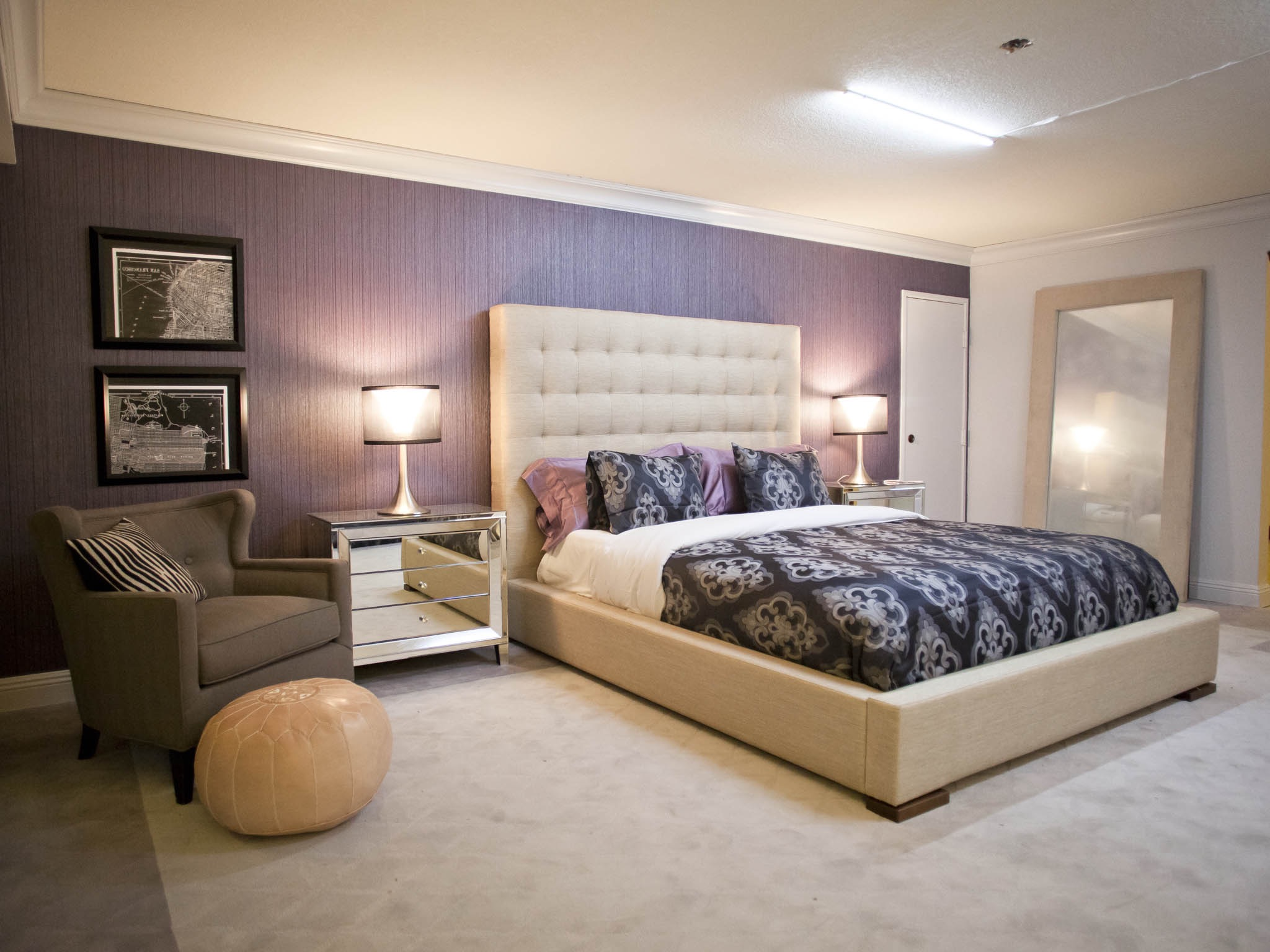 Neutral Contemporary Bedroom With Purple Accent Wall Paint Color (Image 15 of 22)