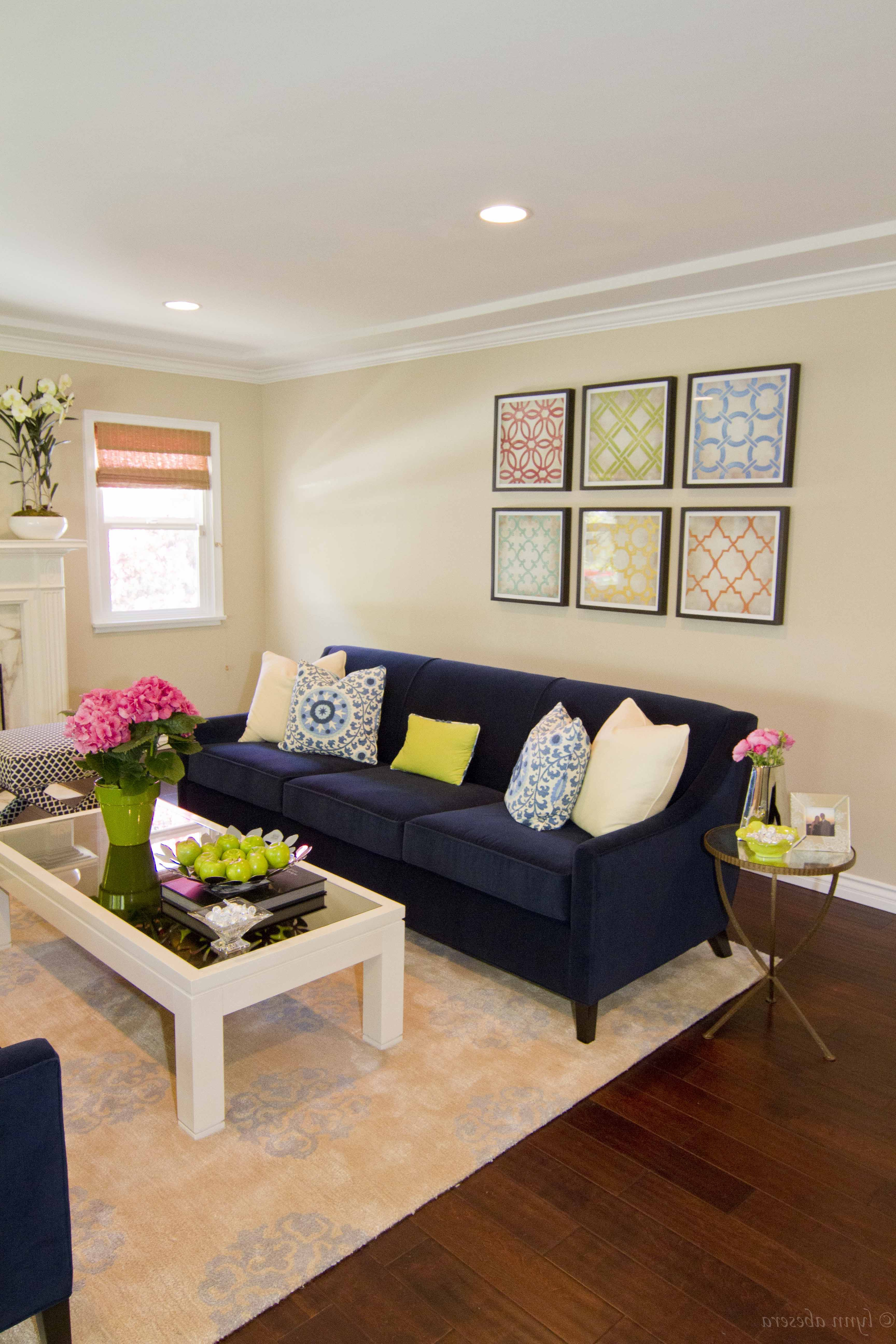 Neutral Transitional Living Room With Navy Blue Sofa (Image 22 of 25)