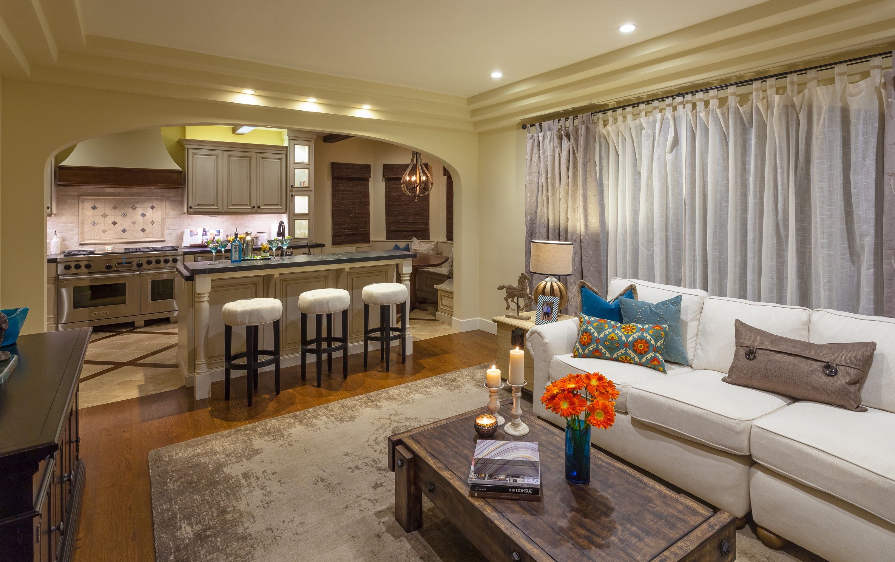 Neutral Transitional Open Concept Living Room And Kitchen Combo (Image 19 of 26)