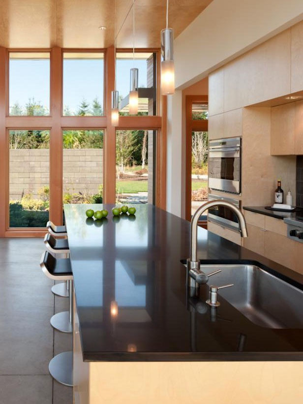Open Plan Kitchen And Dining Area With Caesarstone Countertops (Photo 6 of 23)