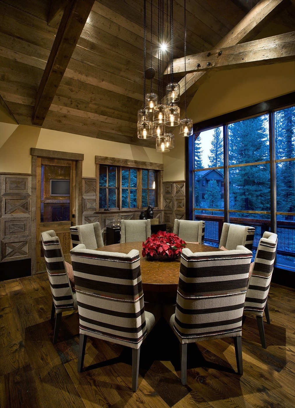 Rustic Dining Room Boasts Stylish Striped Dining Chairs (Image 22 of 36)