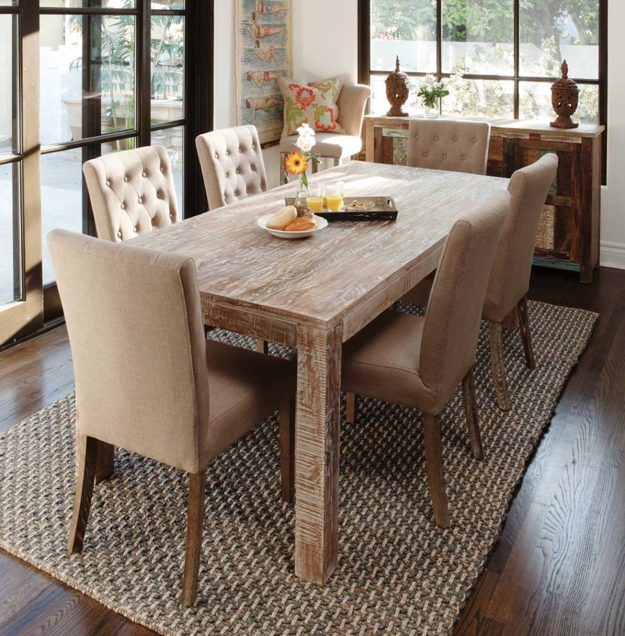 Rustic Dining Room With Wood Table And Elegant Chairs (Image 31 of 36)