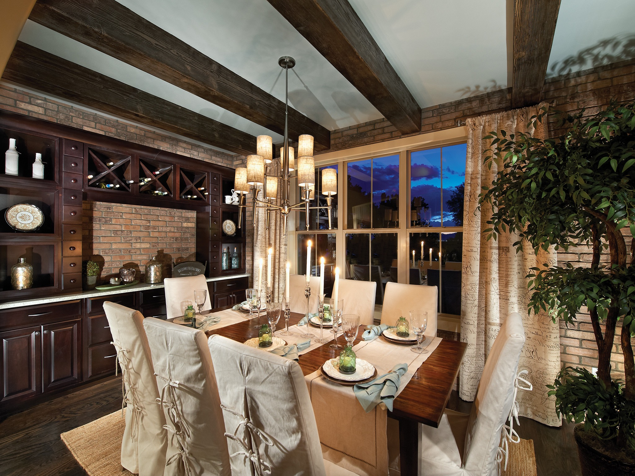Rustic Yet Elegant Dining Room With Brick Wall Decor (Image 25 of 36)