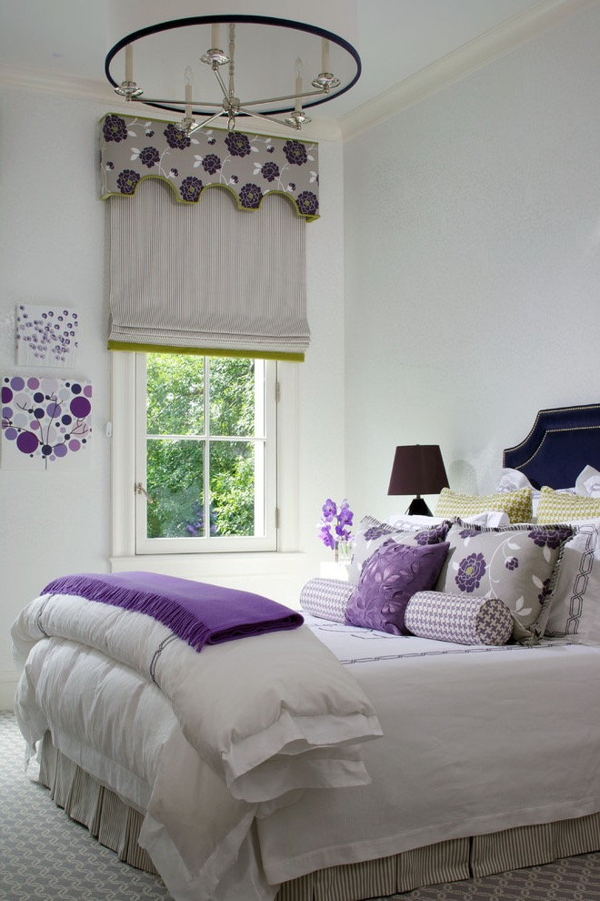 Shabby Chic Style Teen Girls Bedroom In Purple And White Color (View 12 of 30)