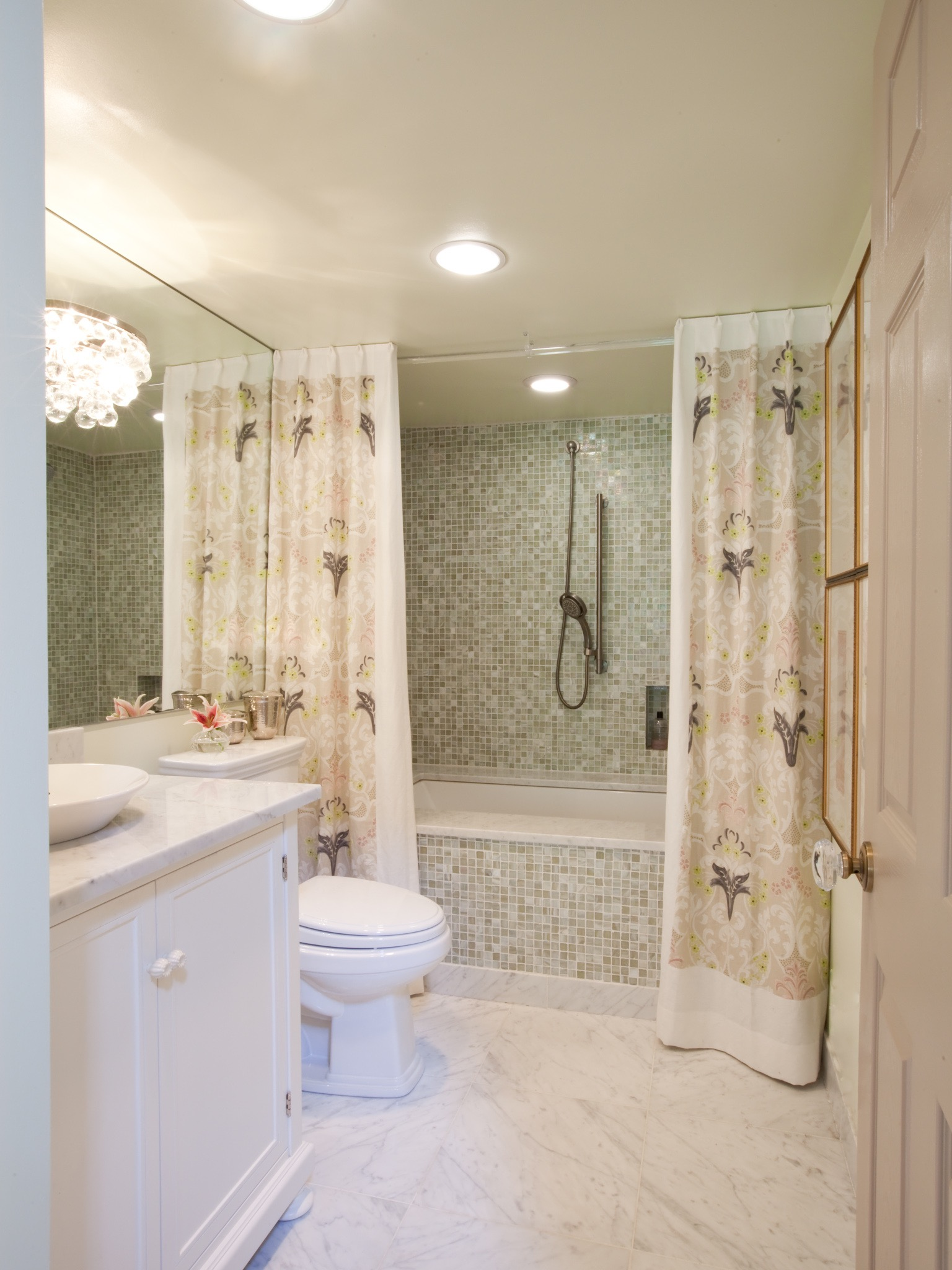 Small Bathroom With Mosaic Tile And Lavender Print Shower Curtain (View 12 of 14)