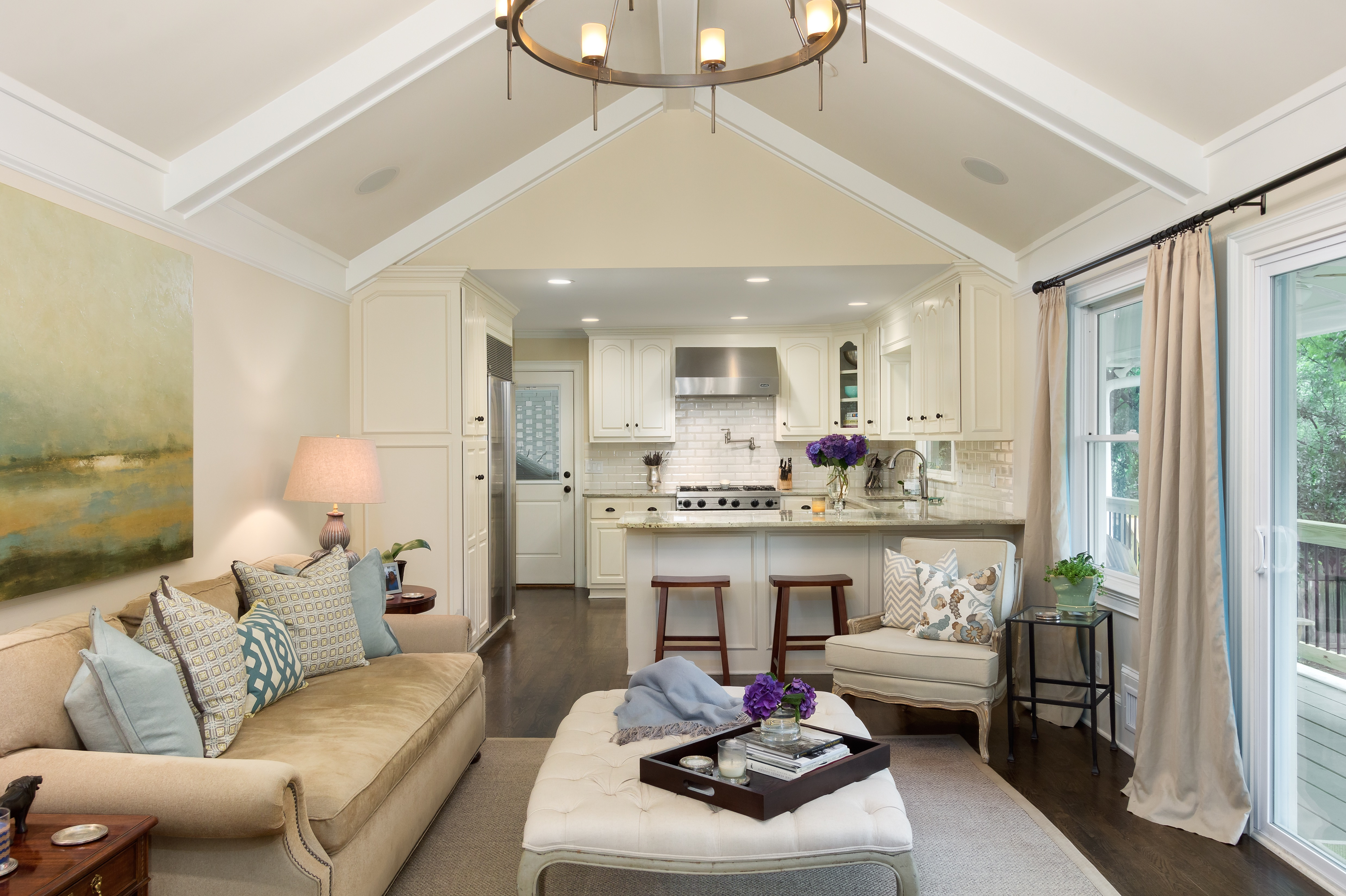 Small And Serene Neutral Traditional Living Room And Kitchen Combo (Image 21 of 26)
