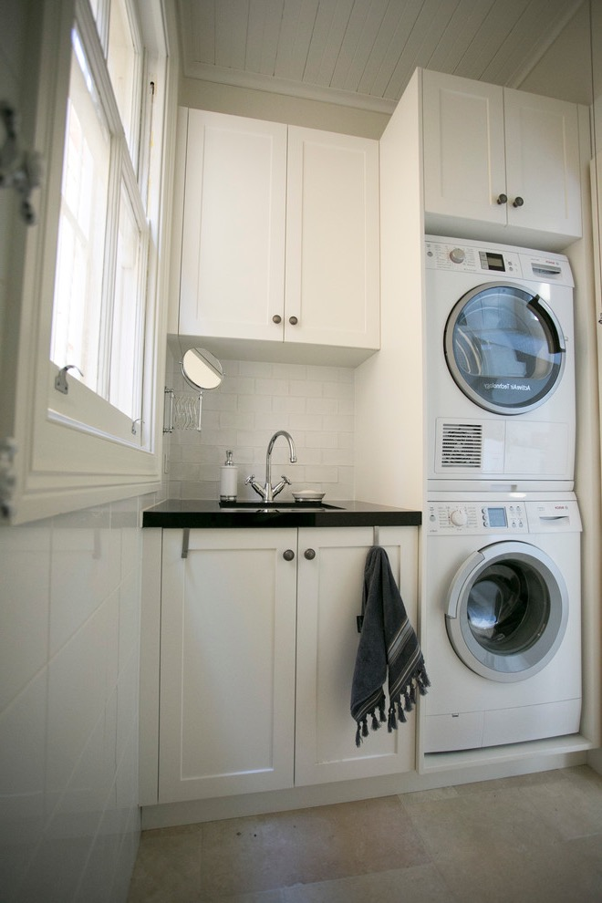Small Elegant Single Wall Dedicated Laundry Room And Bathroom Combo For Apartment (Image 13 of 15)