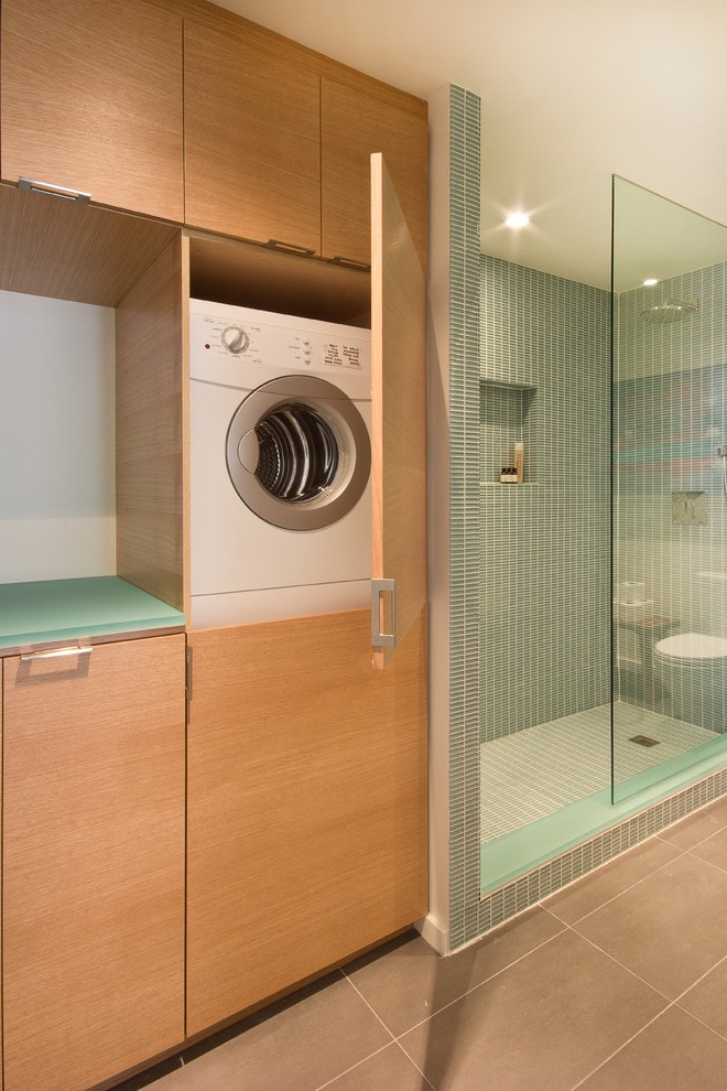 Small Minimalist Laundry Closet Combine With Modern Shower Bathroom With Flat Panel Cabinets (Photo 15 of 15)