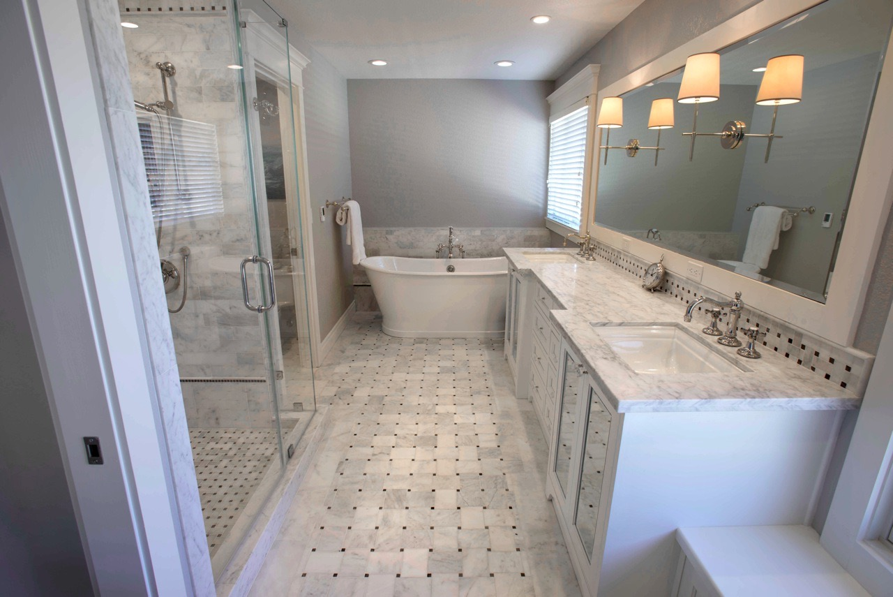 Soft Gray Classical Bathroom With Marble Flooring And Countertop (Image 27 of 29)