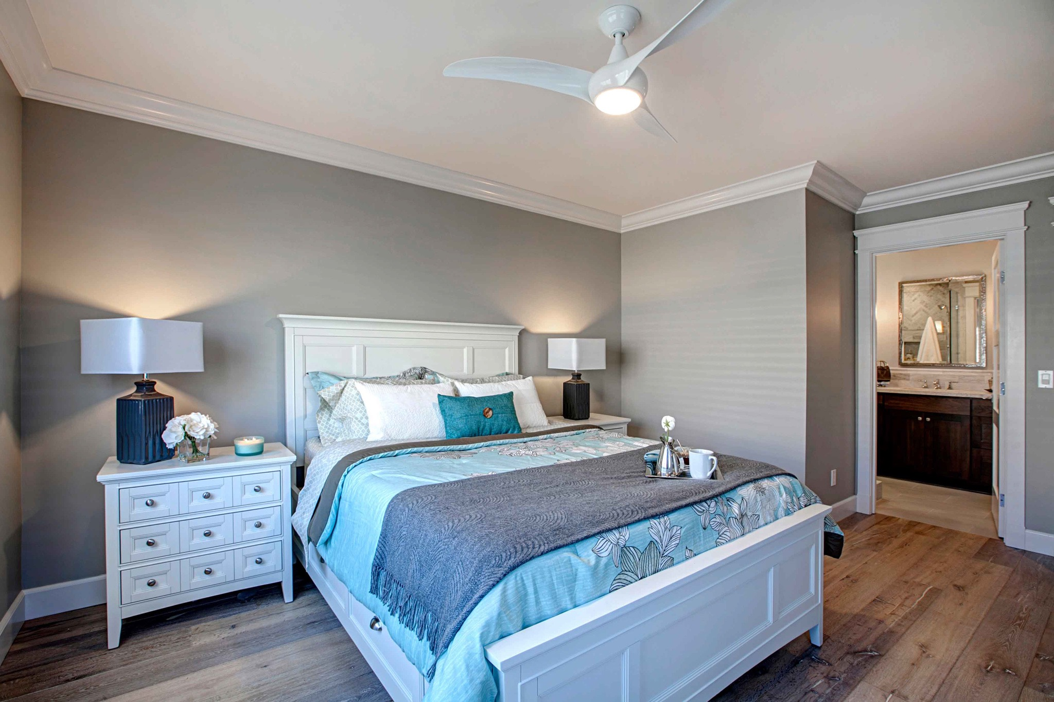 Soothing Gray Master Bedroom Suite Remodel With Blue Bedding (Image 25 of 28)