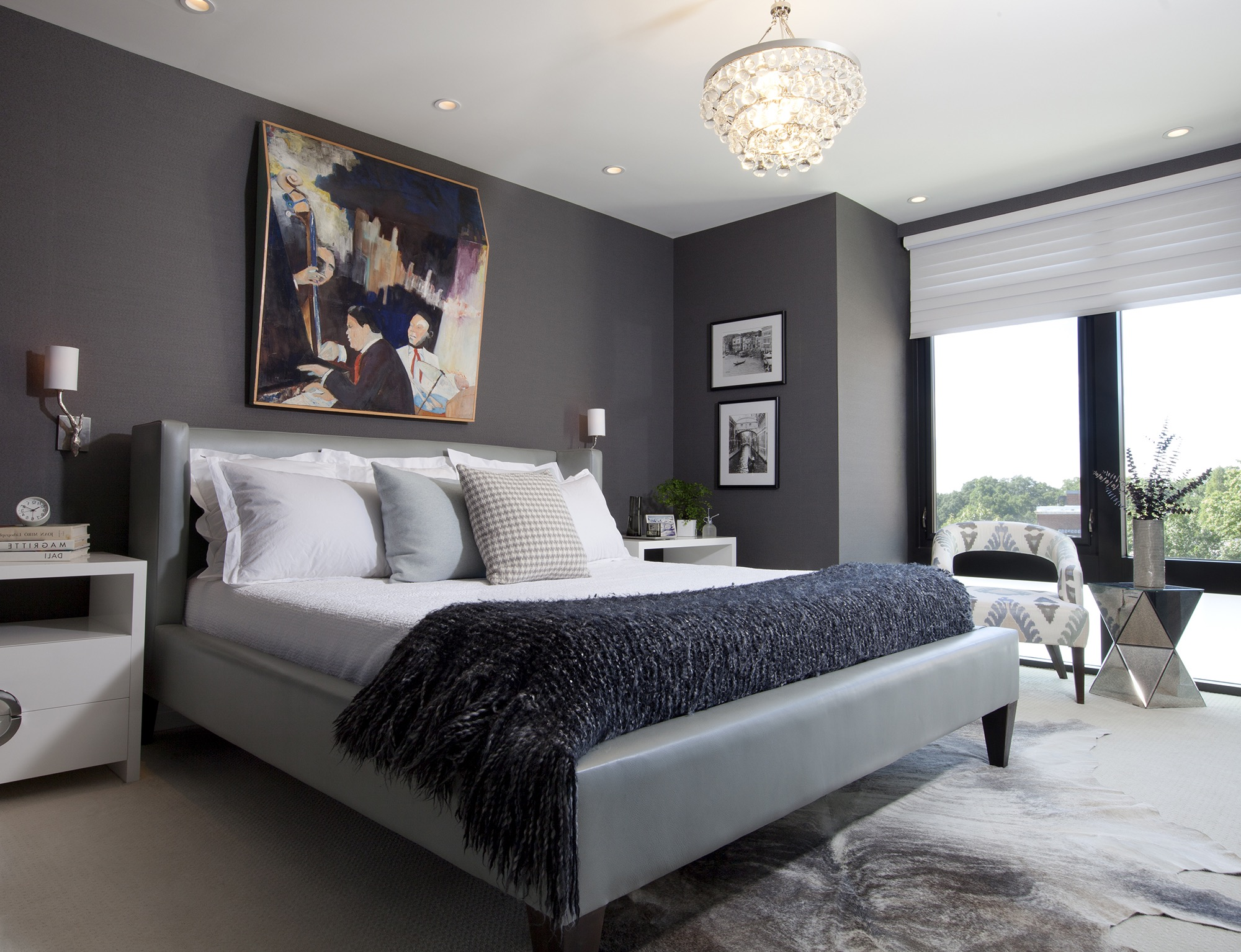 Sophisticated Gray Parents Bedroom With Colorful Abstract Art (Image 28 of 30)