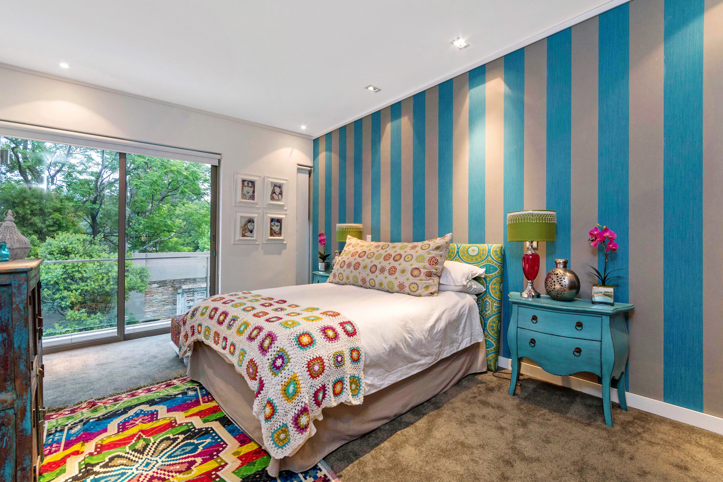 Teen Bedroom With Colorful Striped Accent Wall (Image 24 of 30)