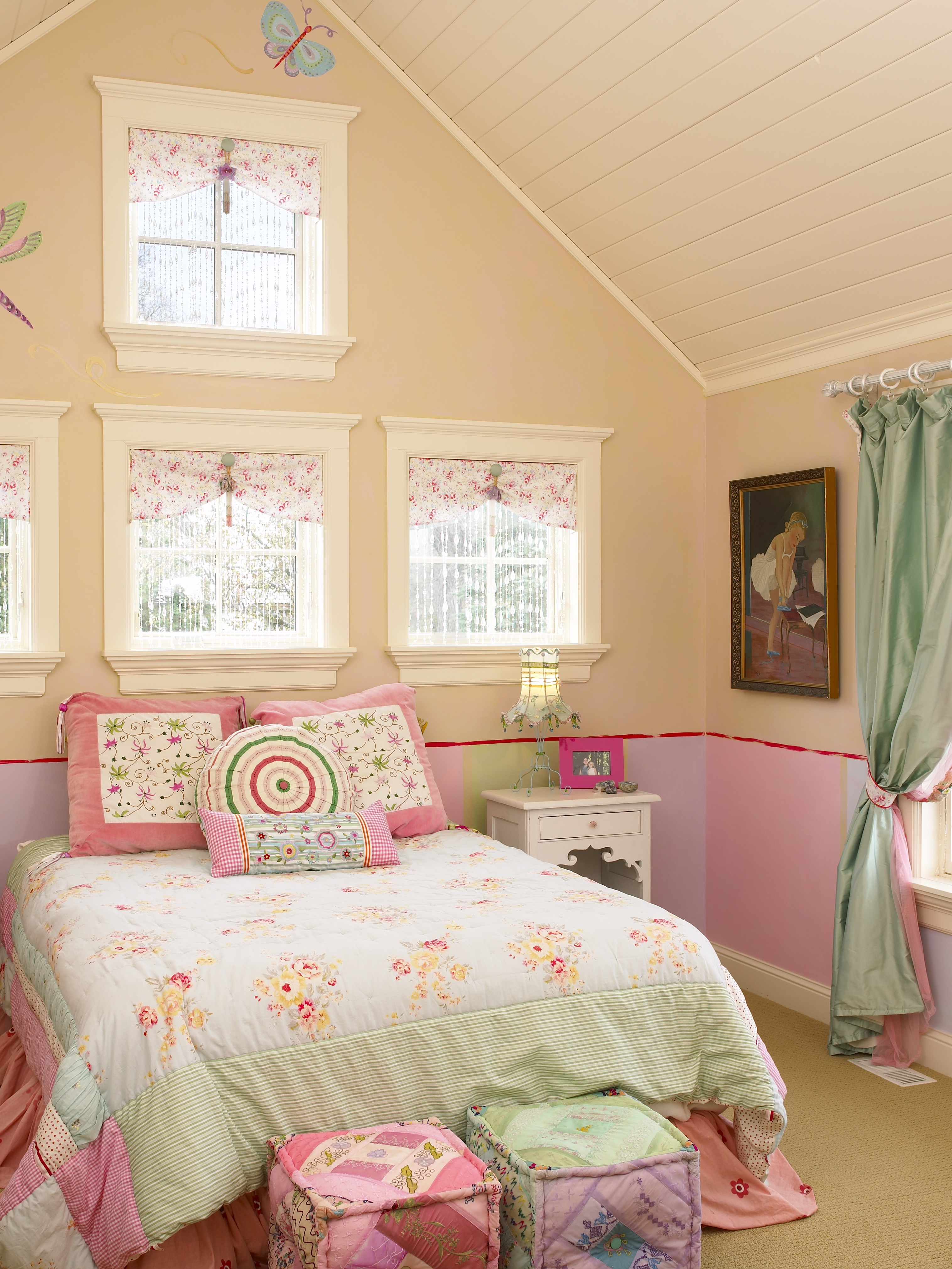 Traditional Attic Remodel For Children Bedroom For Girls (Image 31 of 35)