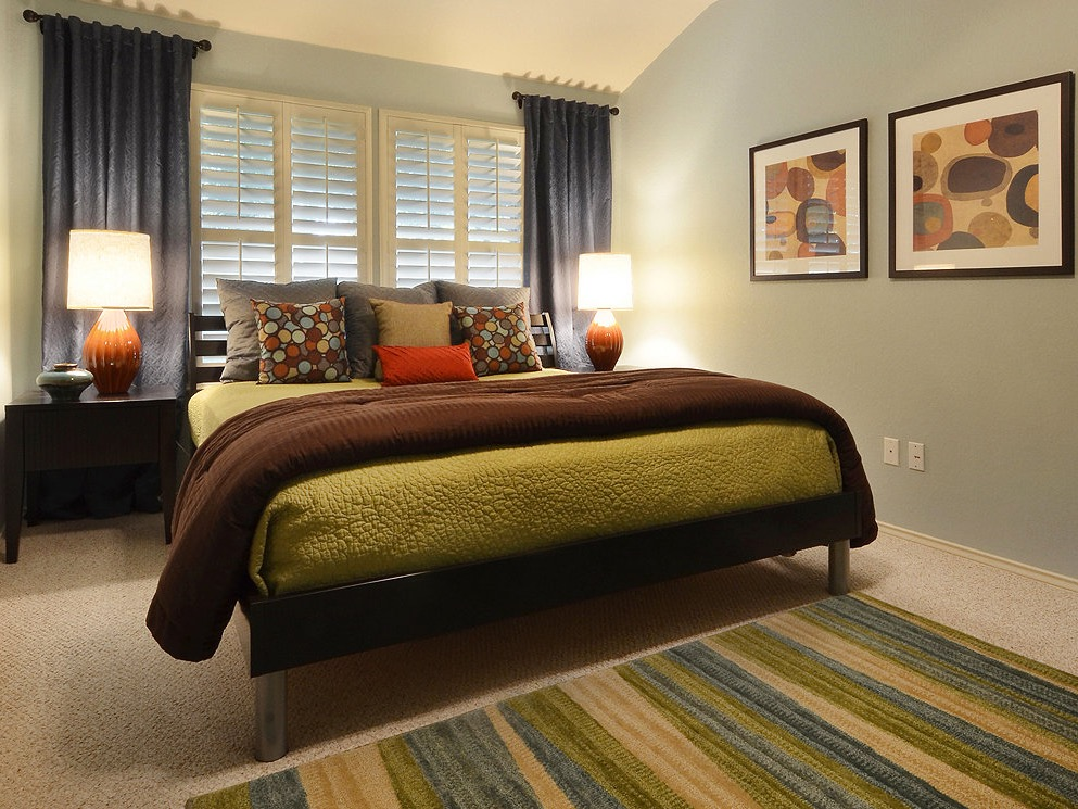 Traditional Bedroom Remodel With Pale Blue Color With Contemporary Platform Bed (View 14 of 22)