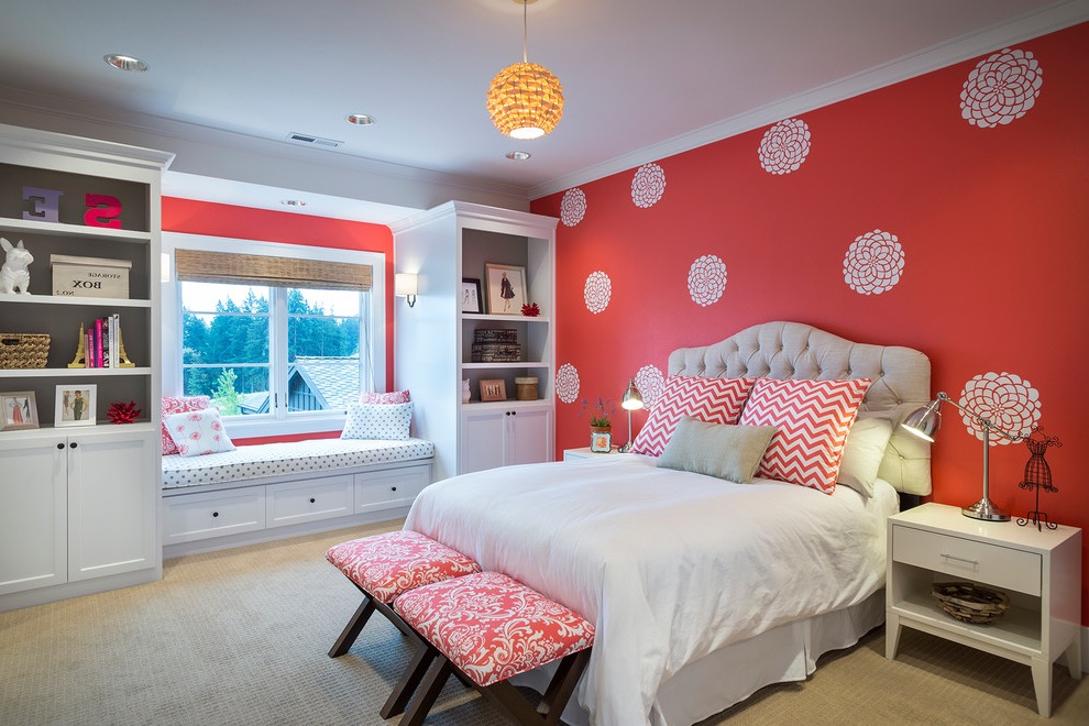 Traditional Interior Remodel With Wallpaper For Teen Girls Bedroom (Image 26 of 30)