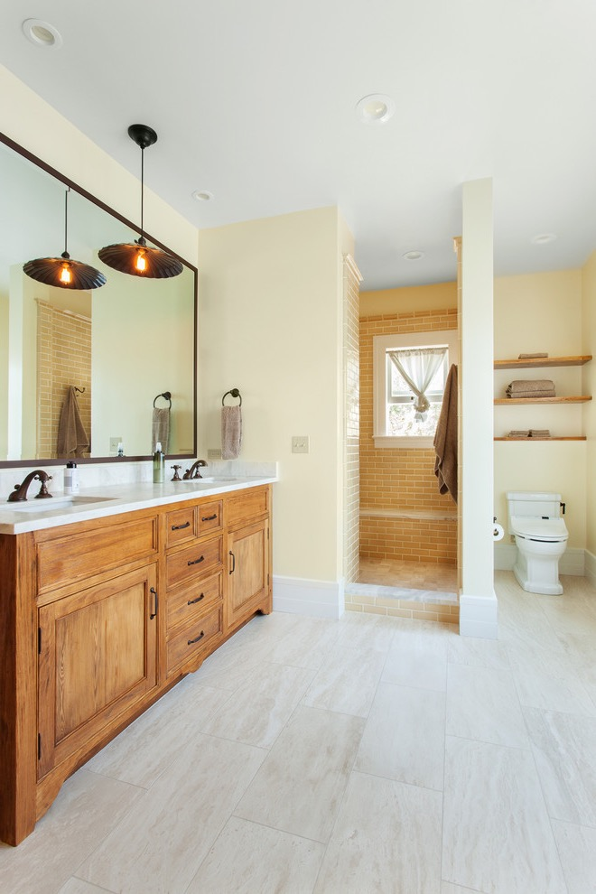Traditional Bathroom Remodel To Modern Walk In Shower And Toilet (Image 22 of 29)