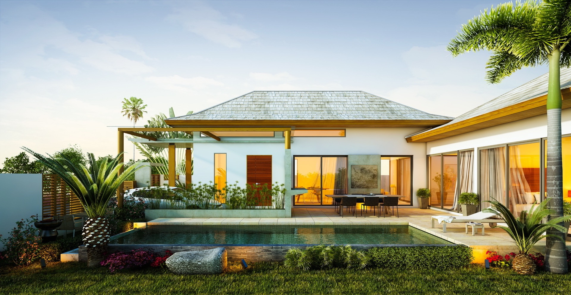 exterior tropical homes design with relaxing ambiance