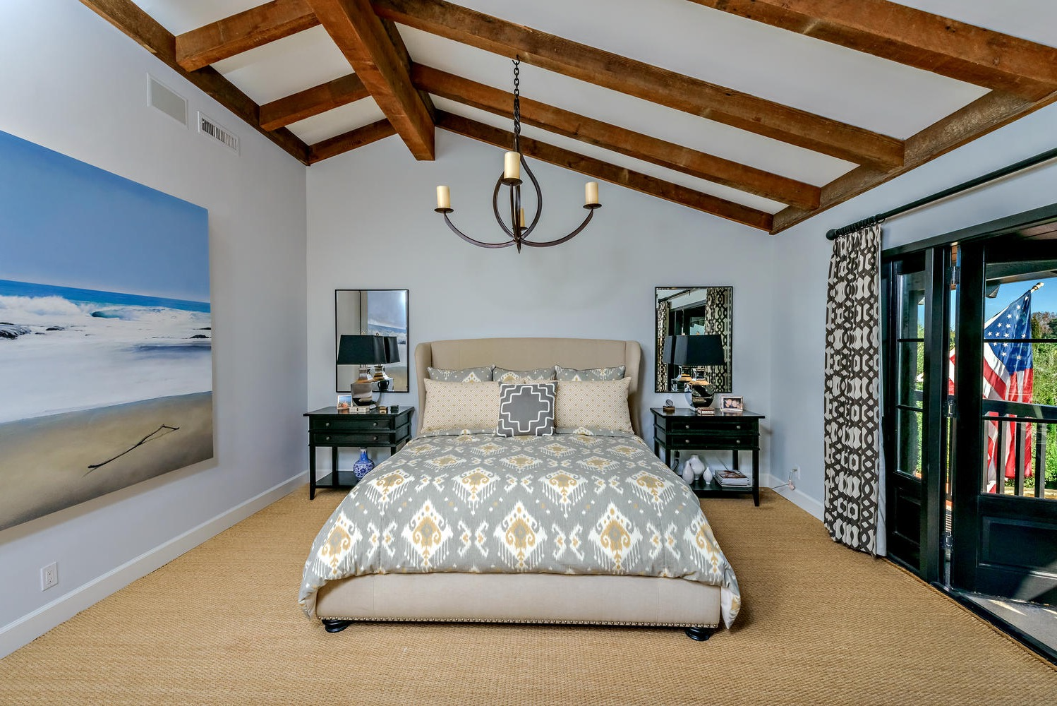 Tropical Master Bedroom With Incline Ceiling And Exposed Beams (Image 28 of 32)