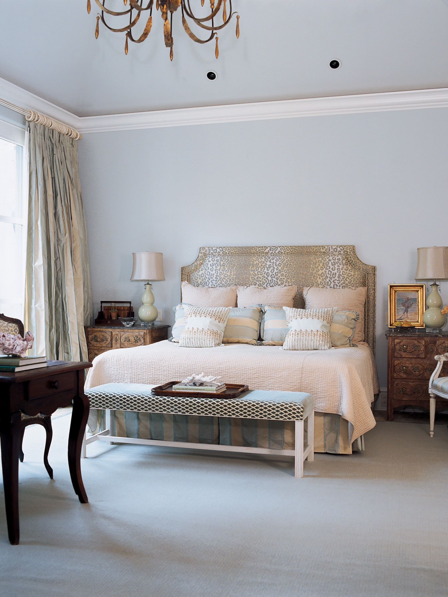 Victorian Bedroom With Patterned Window Treatment And Antique Blue Accent Table (View 12 of 19)