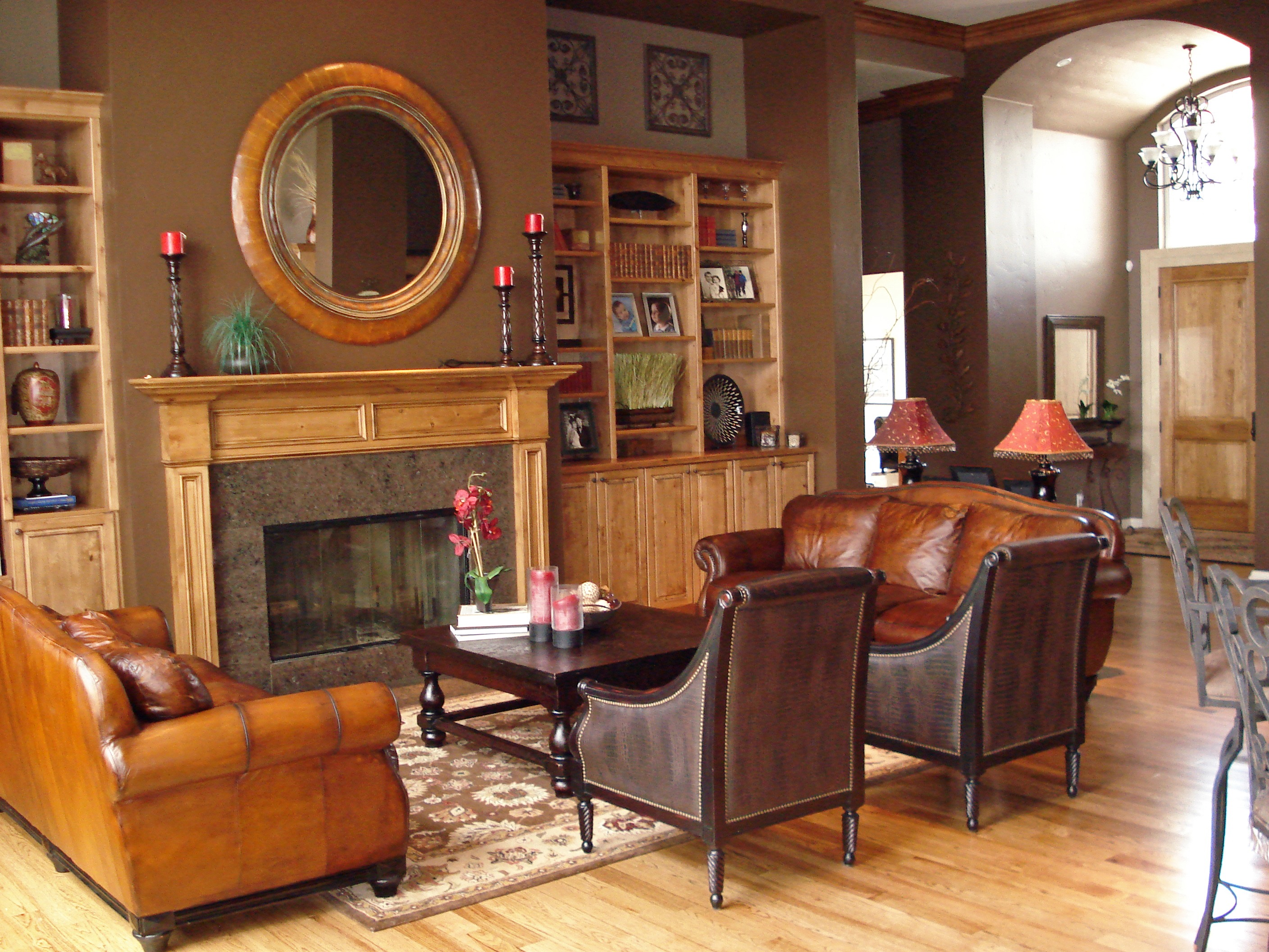 Victorian Living Room Blends Wood And Leather (Image 13 of 16)