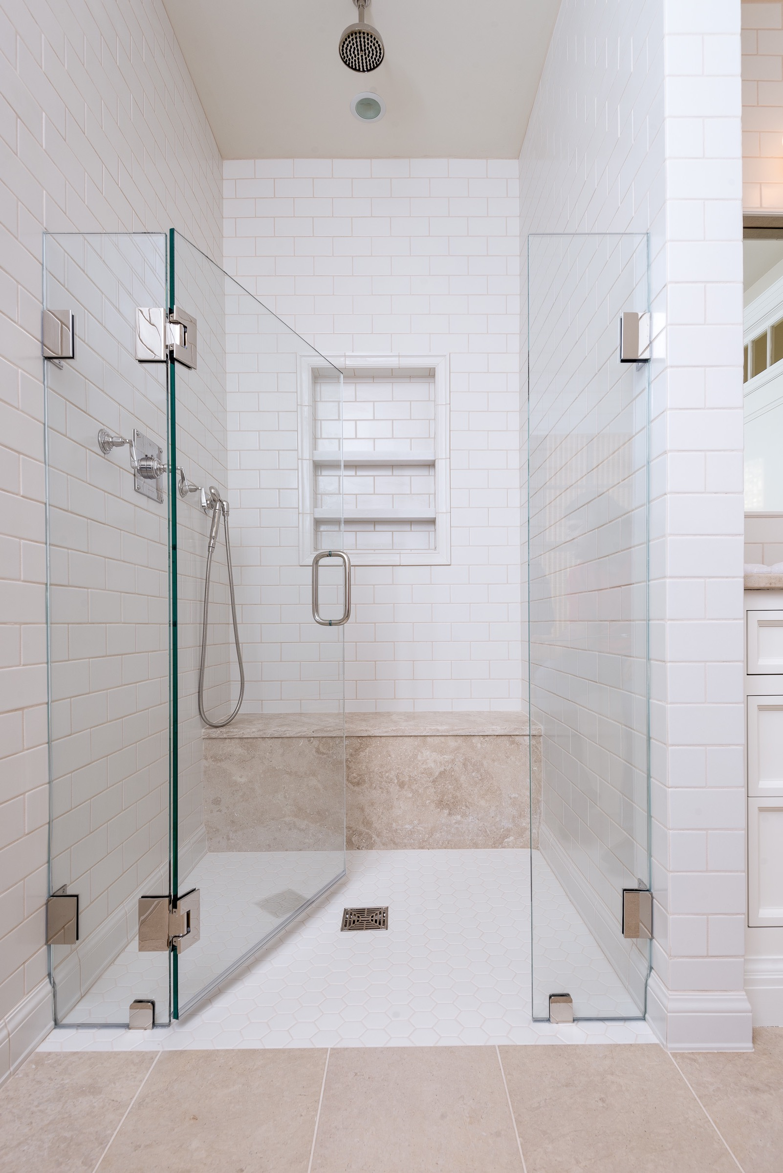 White Tile Master Suite Walk In Shower (Image 28 of 29)
