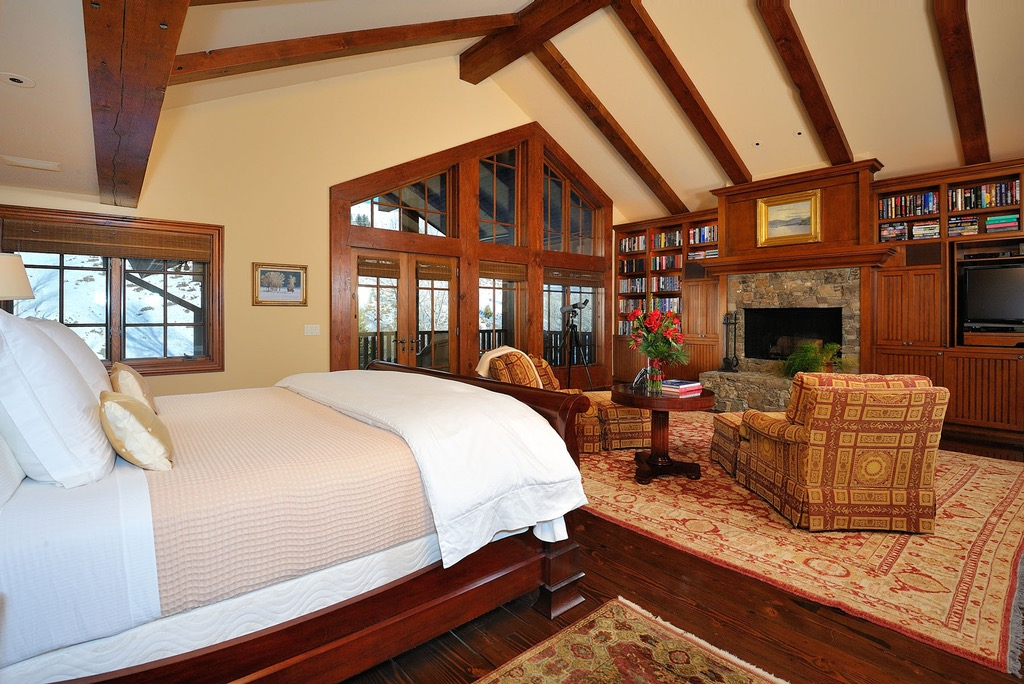 Wooden Bedroom Ceiling With Fireplace (Image 31 of 32)