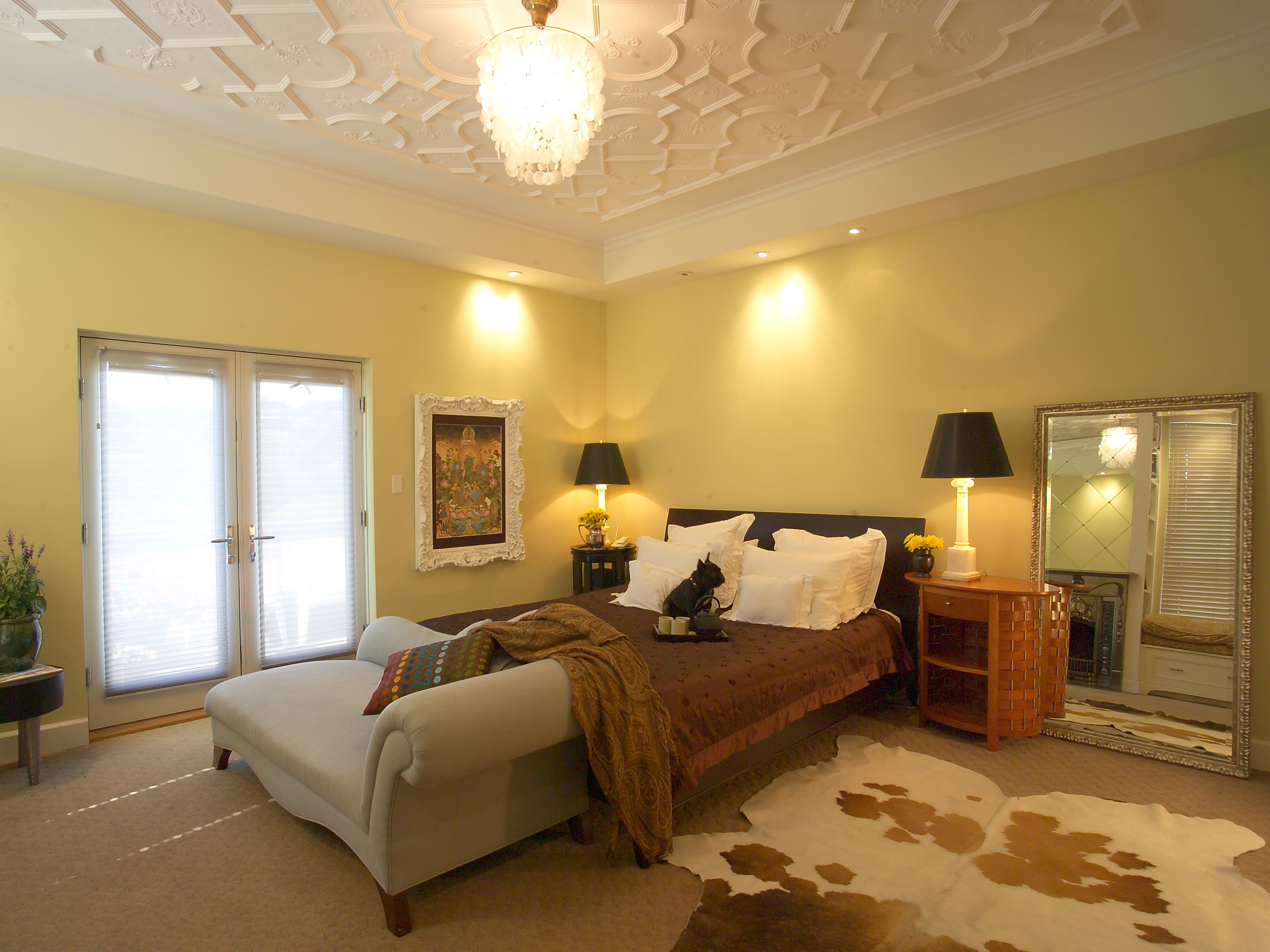 Yellow Bedroom With Textured Tray Ceiling And Cowhide Rug (Image 32 of 32)