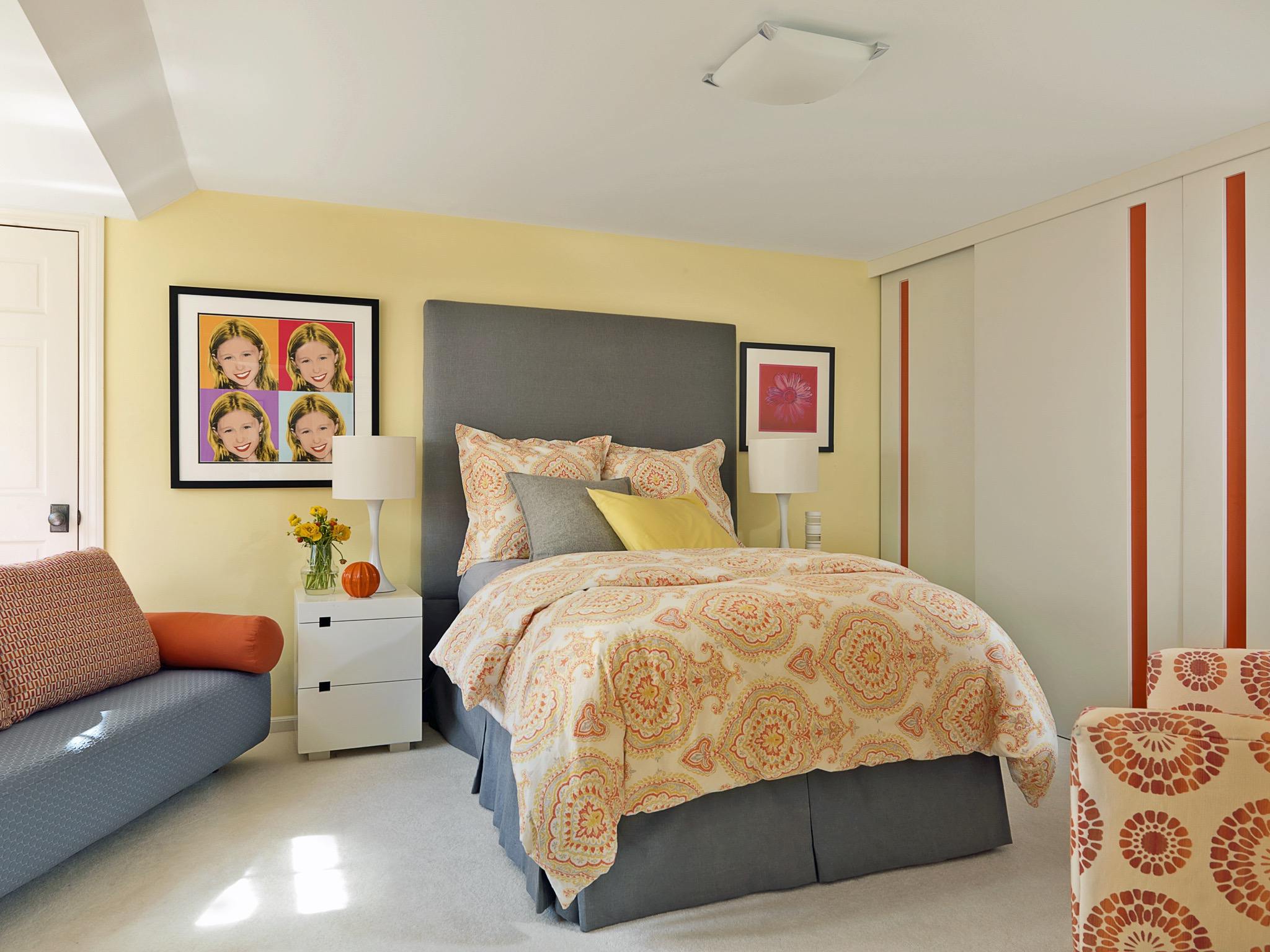 Yellow And Orange Colour Theme For Girls Teen Bedroom (Image 30 of 30)