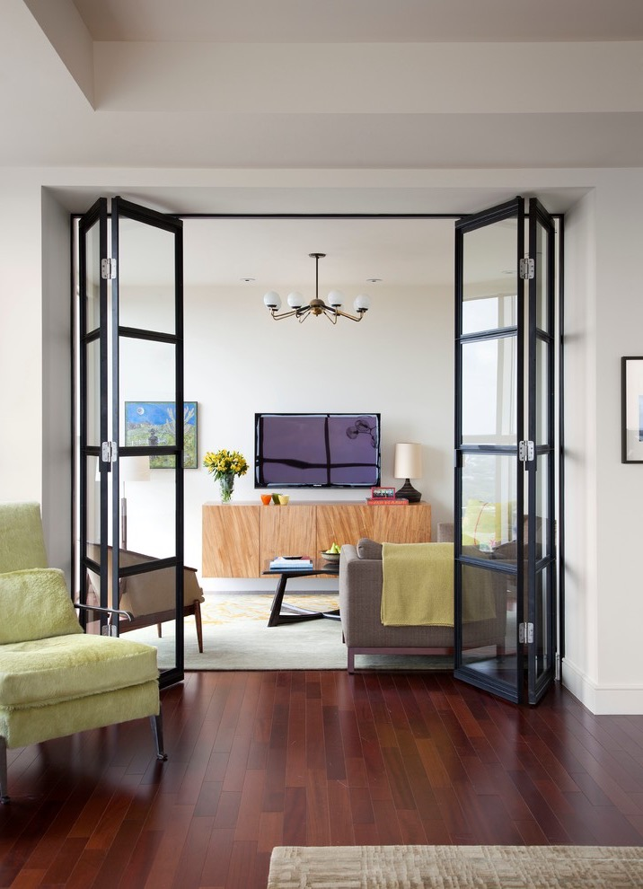 Beautiful Bifold French Doors For Cozy Modern Living Room (View 4 of 24)