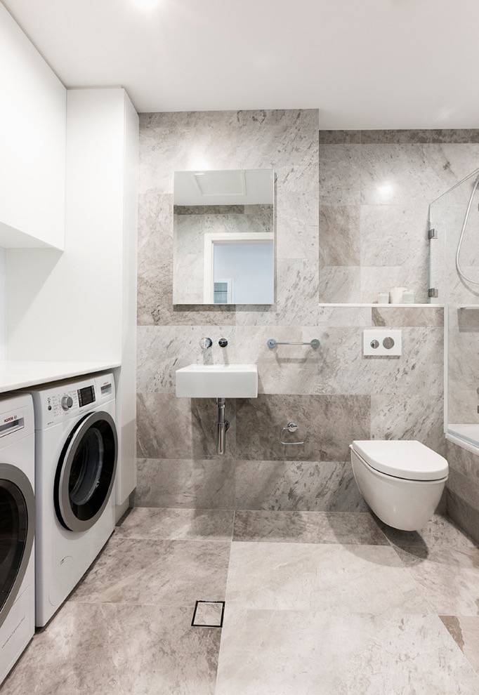 Best Luxury Bathroom With Laundry Cupboard Combination (Image 1 of 15)