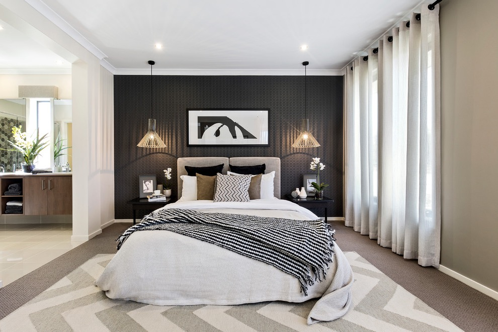 Black And White Contemporary Bedroom Paint Color (View 1 of 22)