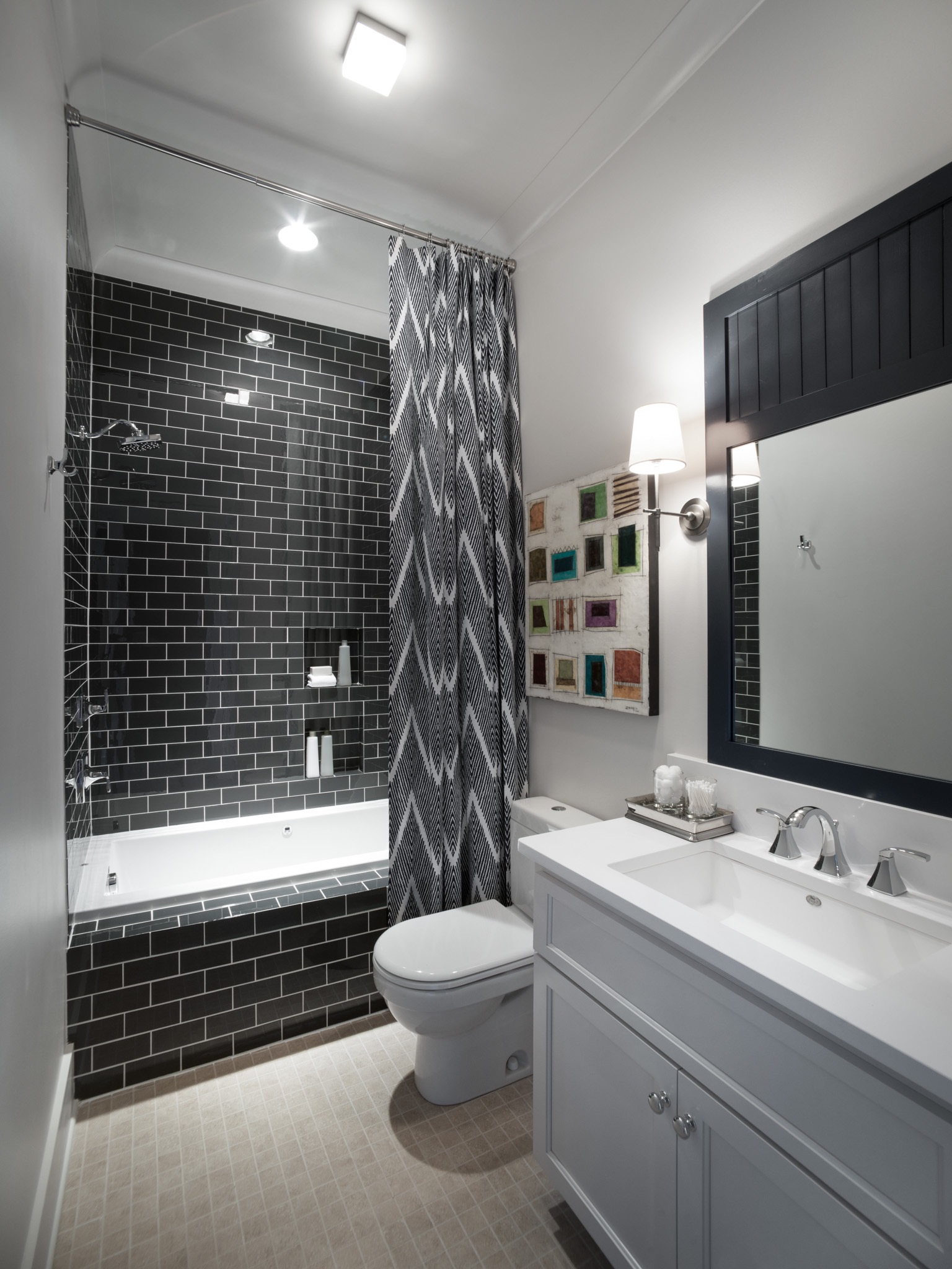Black And White Modern Bathroom With Chevron Stripe Shower Curtain (Image 4 of 14)