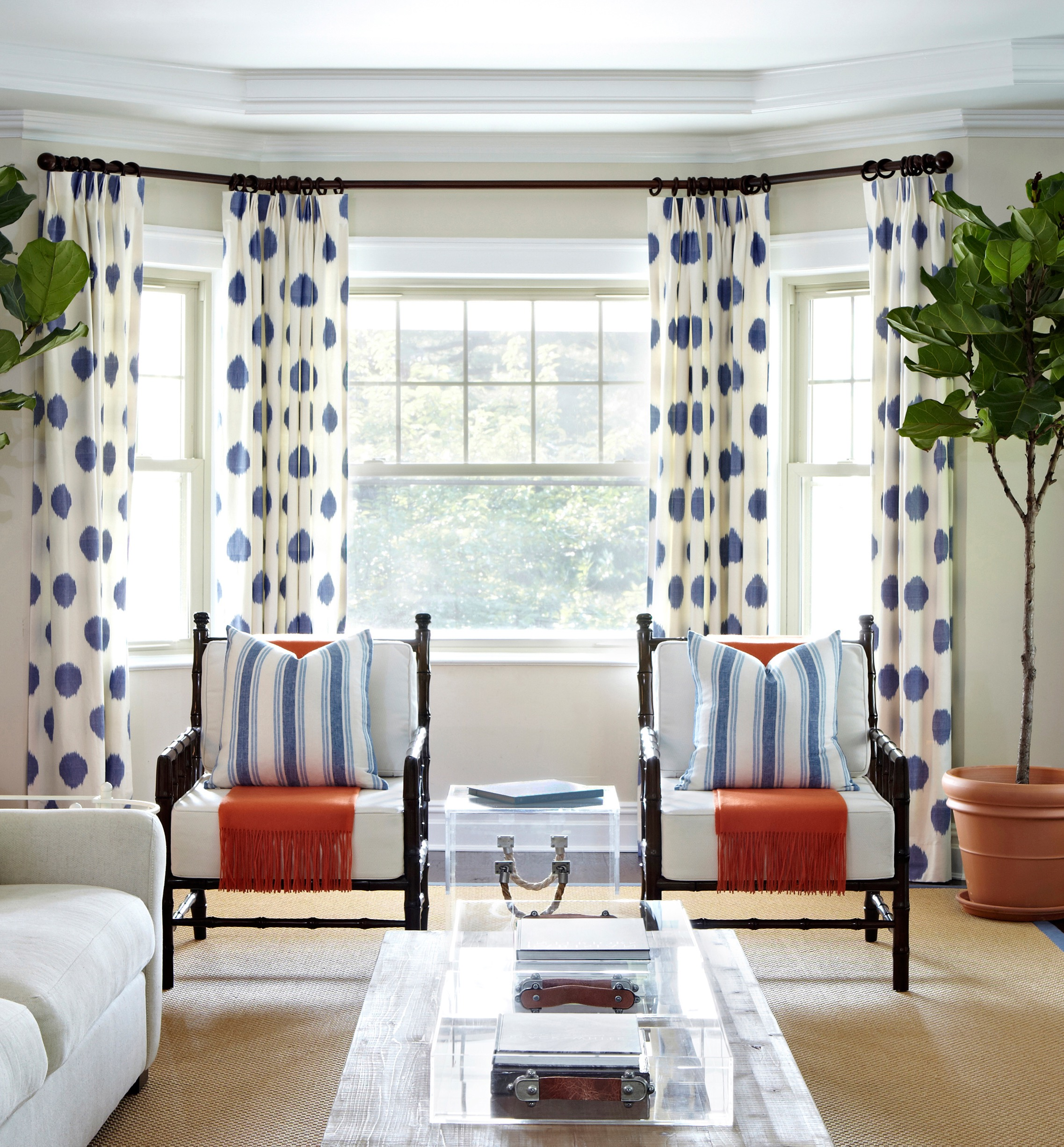 Blue And White Polka Dot Curtains For Cozy Living Room Decor (Image 3 of 25)