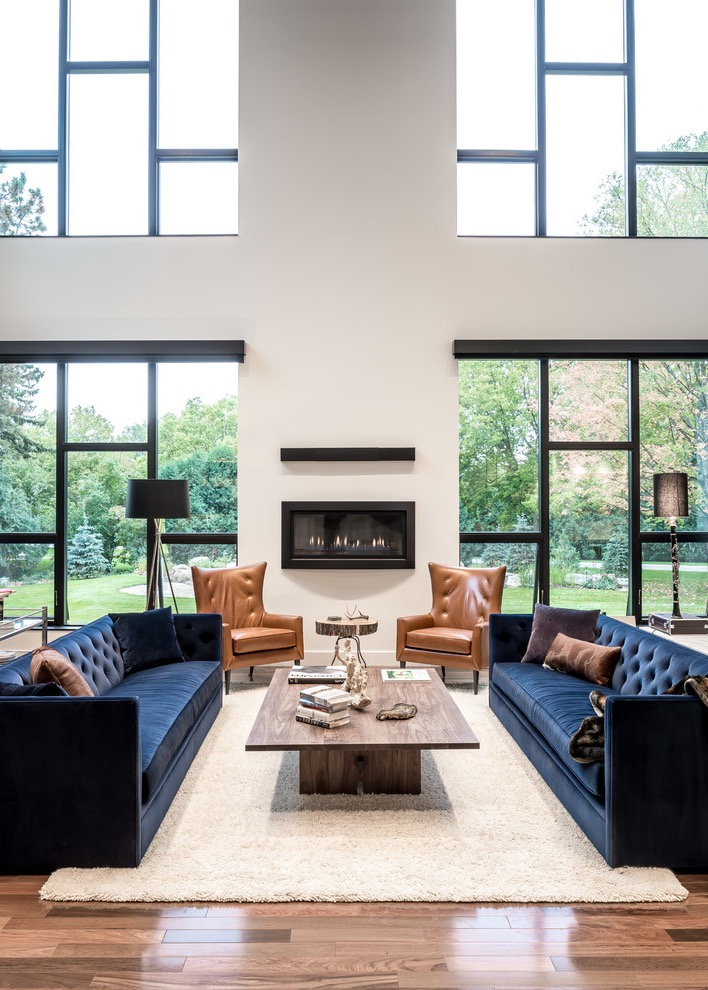 Chic Modern Blue Sofa With Rustic Wood Table For Living Room (View 6 of 25)