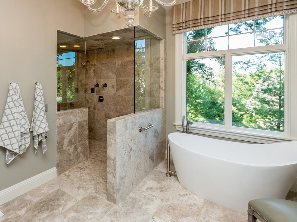 Classic Alcove Walk In Shower With Freestanding Tub (Image 7 of 29)
