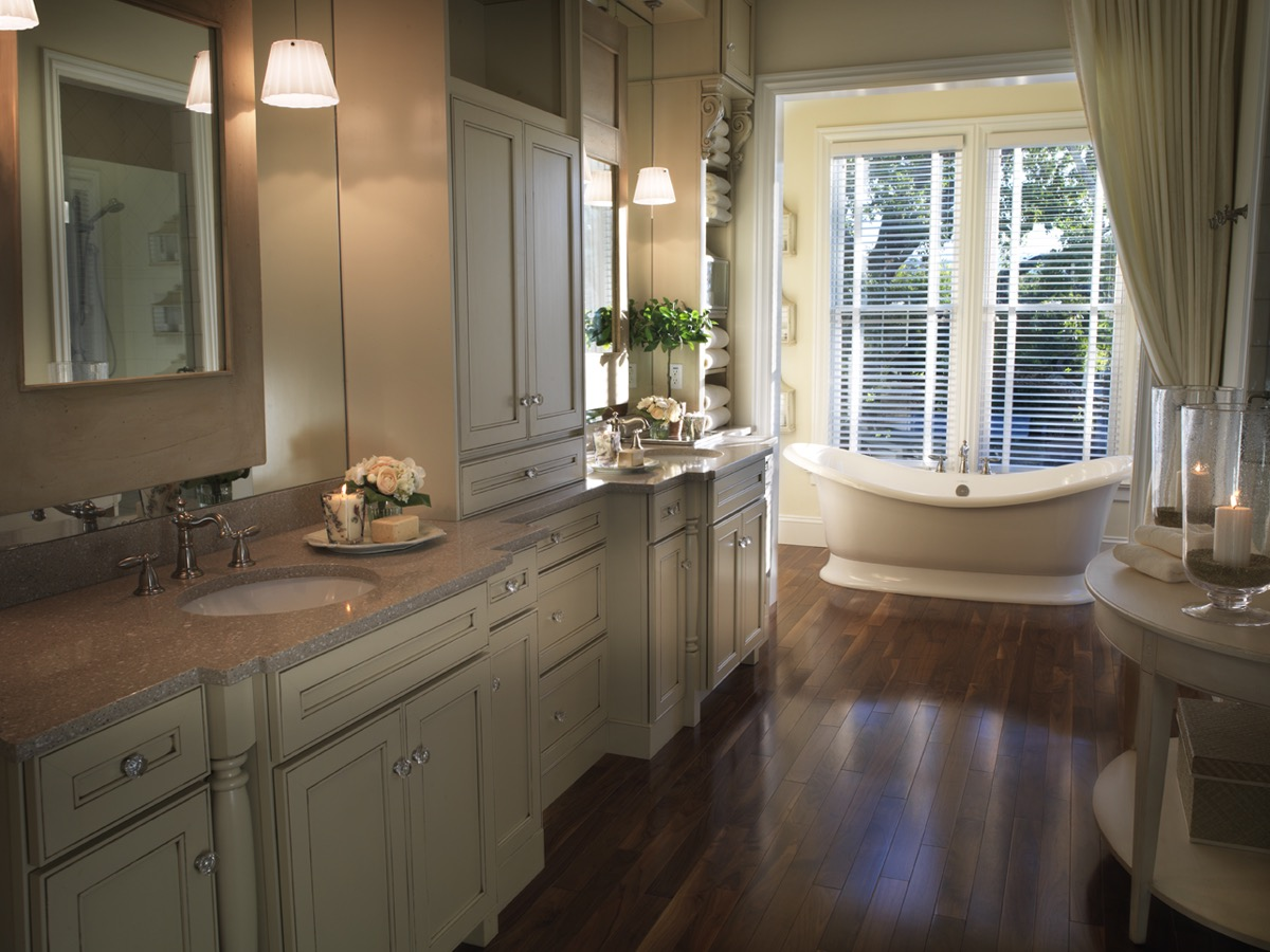 Classic Bathroom Interior With Wooden Cabinets And Modern Curtains (Image 5 of 29)