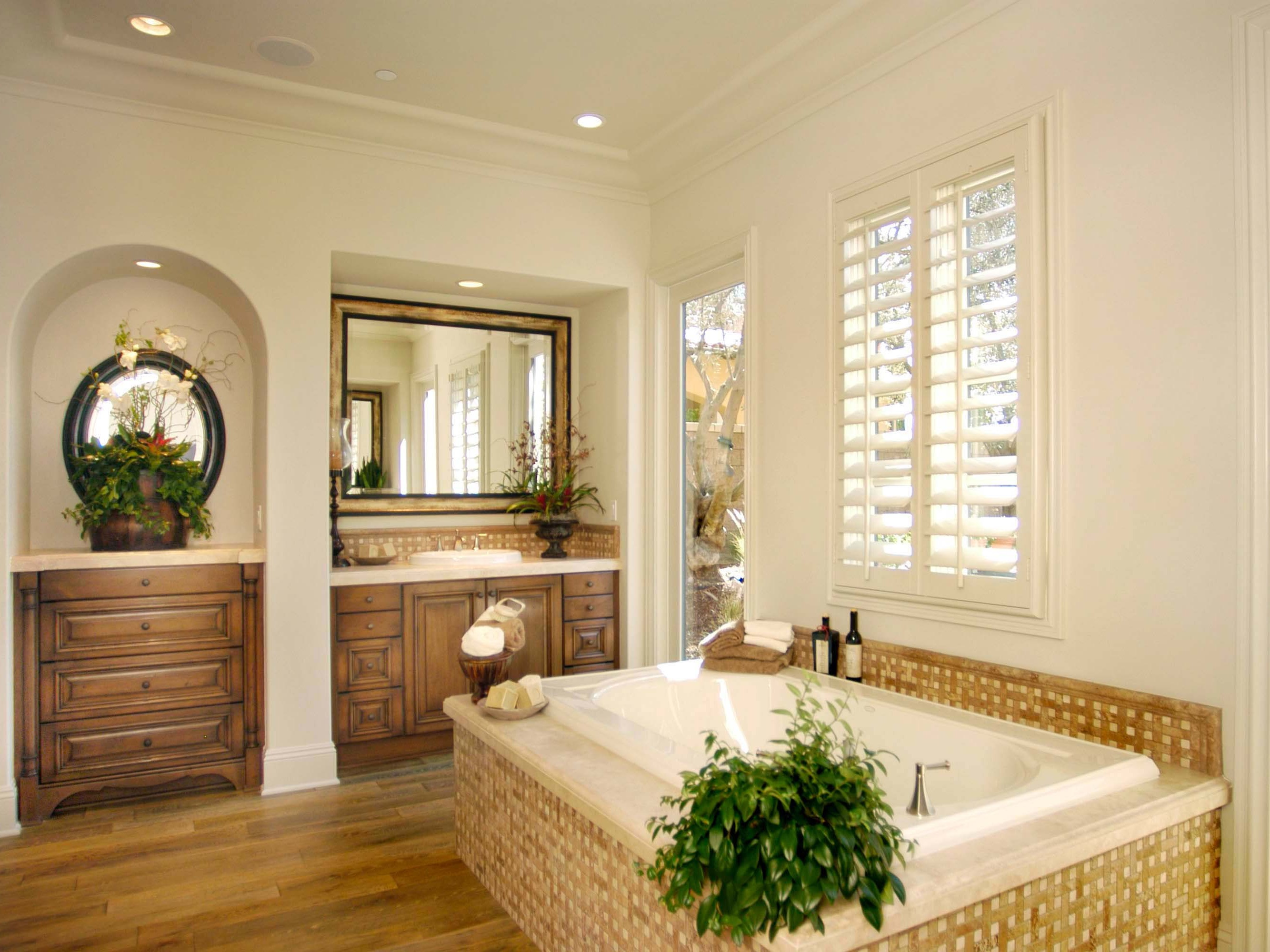 Classic Cabana Bathroom With Natural Bamboo Floor And Wicker Tub (Image 6 of 29)