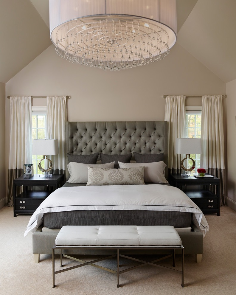 Classic Elegant Parents Bedroom With Crystal Chandelier (Image 7 of 30)